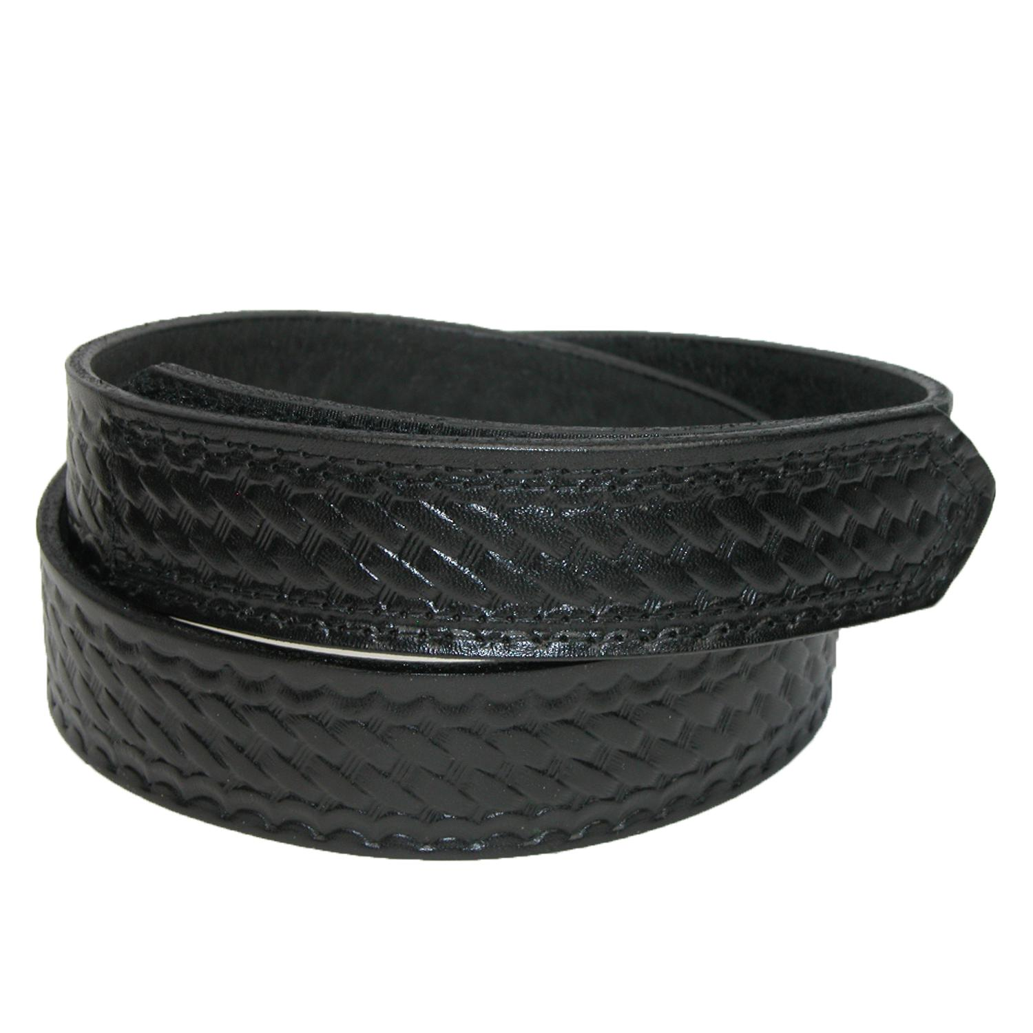Boston Leather Men's Leather Basketweave Hook And Loop Mechanics Belt