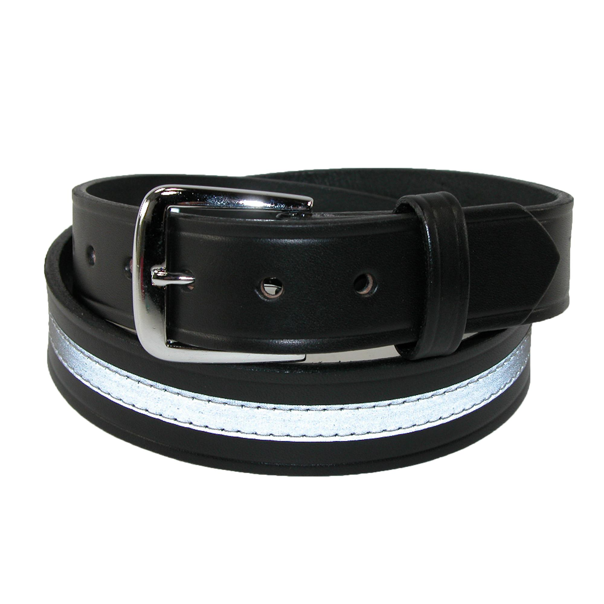 Boston Leather Men's Leather 1 1/2 Inch Reflective Work Belt