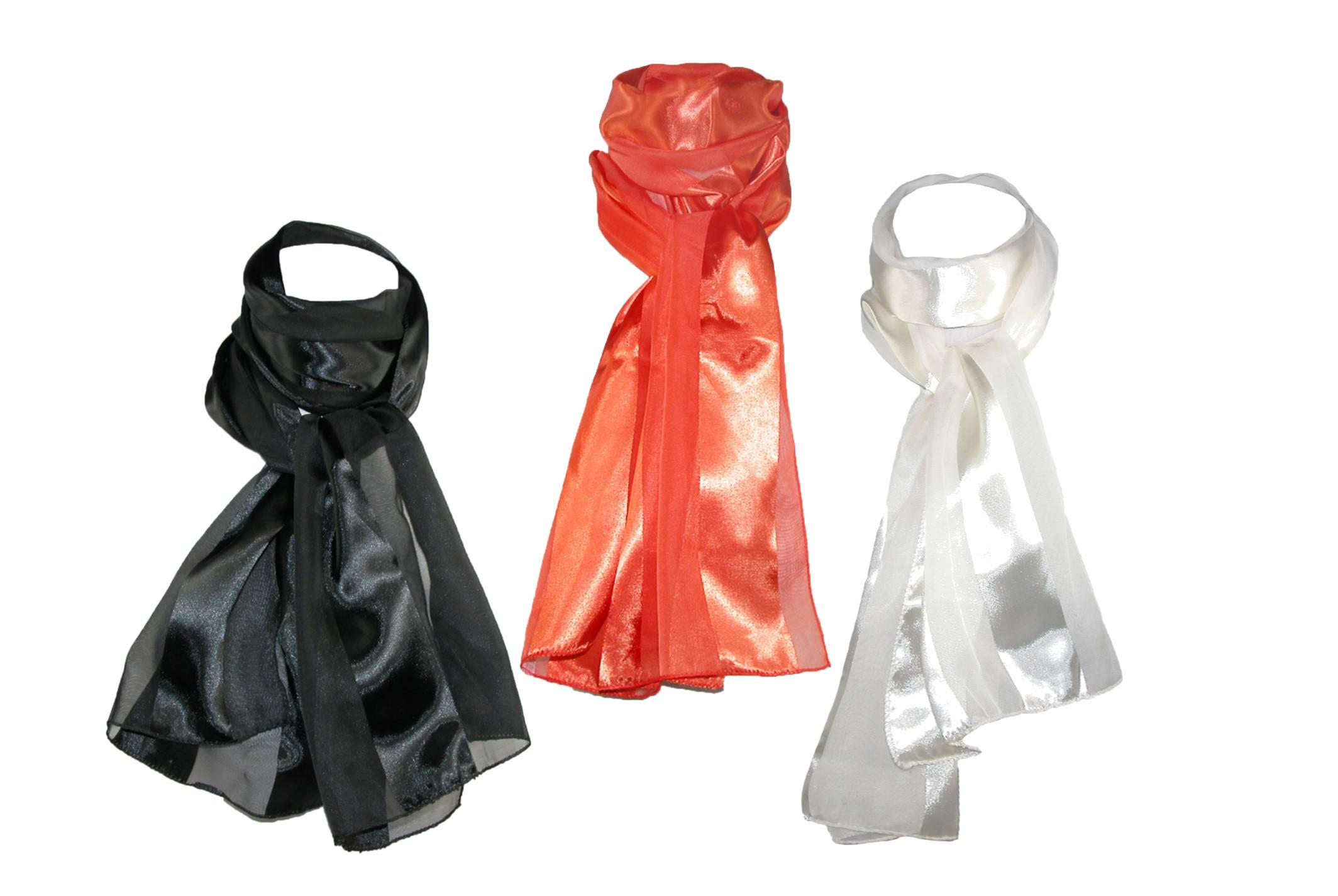 Ctm Womens Long Satin Different Color Scarves (pack Of 3)