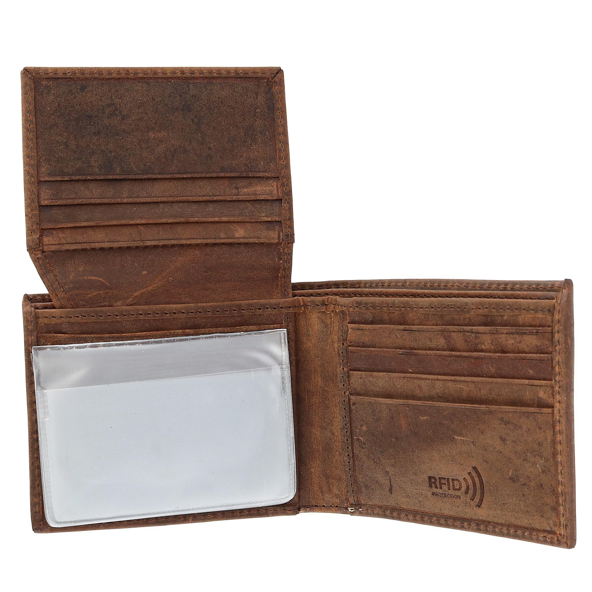 New CTM Men/'s Hunter Leather Distressed RFID Bifold Wallet with Interior Zipper