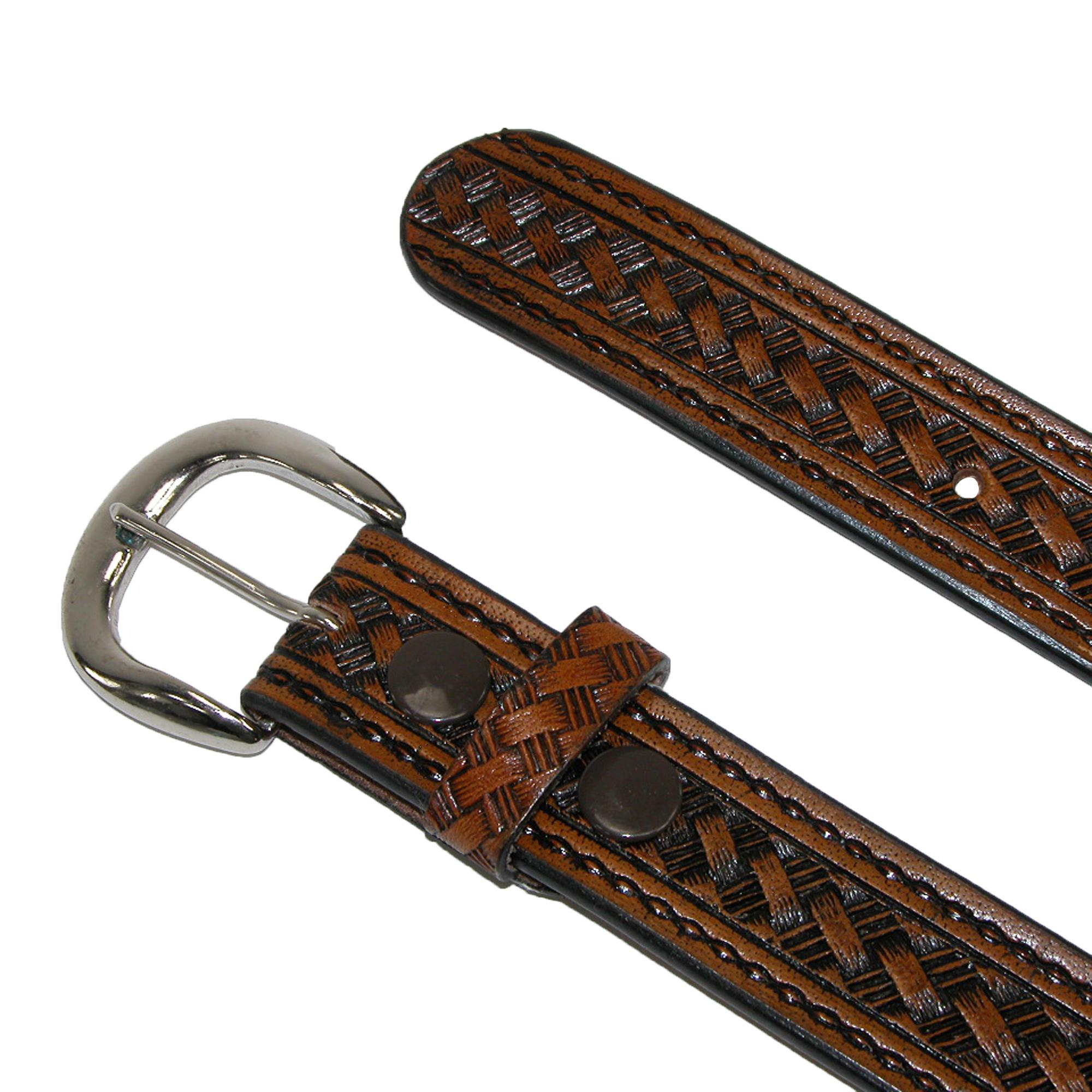 New CTM Men/'s Leather 1 3//8 Inch Western Belt with Removable Buckle