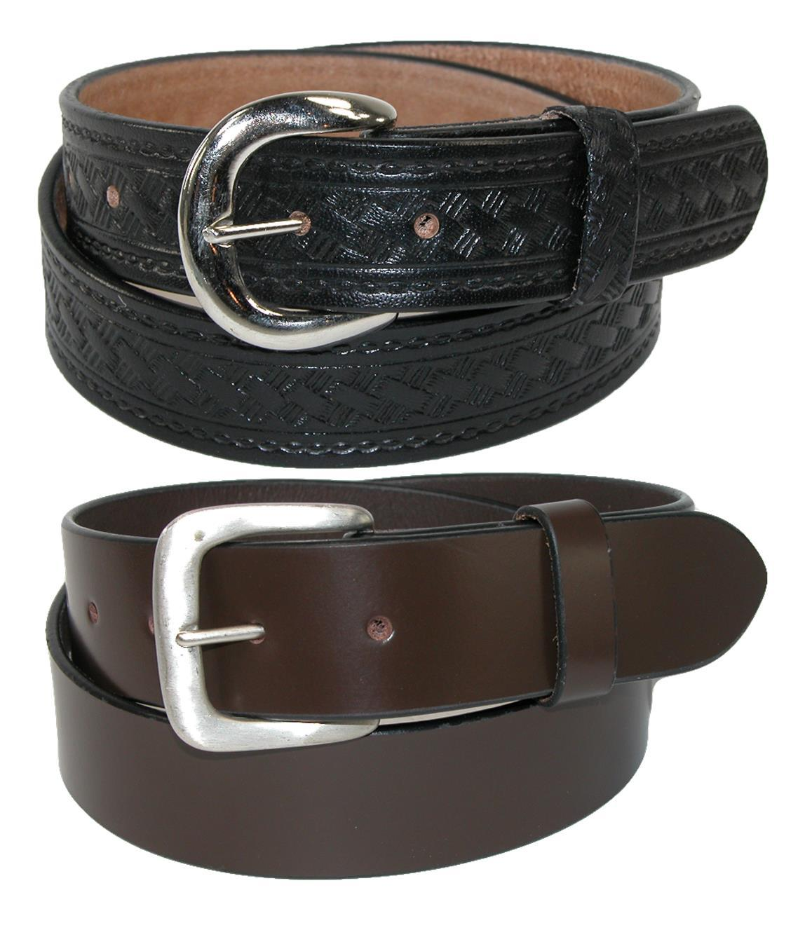 Ctm Mens Leather 1 3/8 Inch Removable Buckle Belts (pack Of 2)