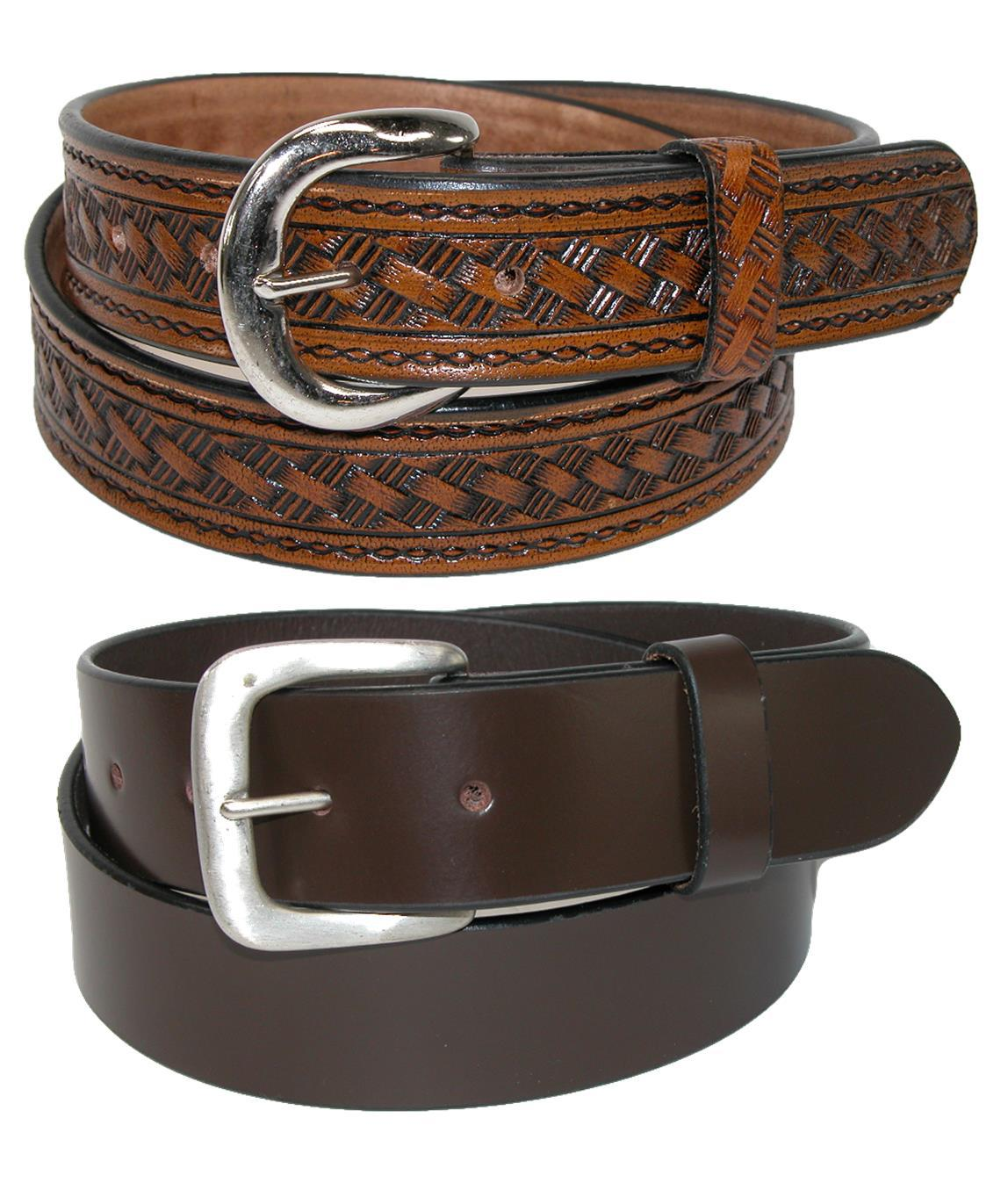 Ctm Men's Leather 1 3/8 Inch Removable Buckle Belts (pack Of 2)