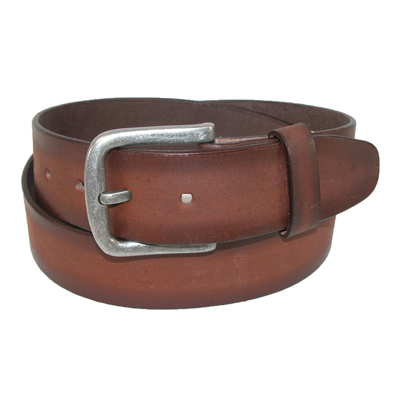 Ctm Mens Burnished Leather Removable Buckle Bridle Belt