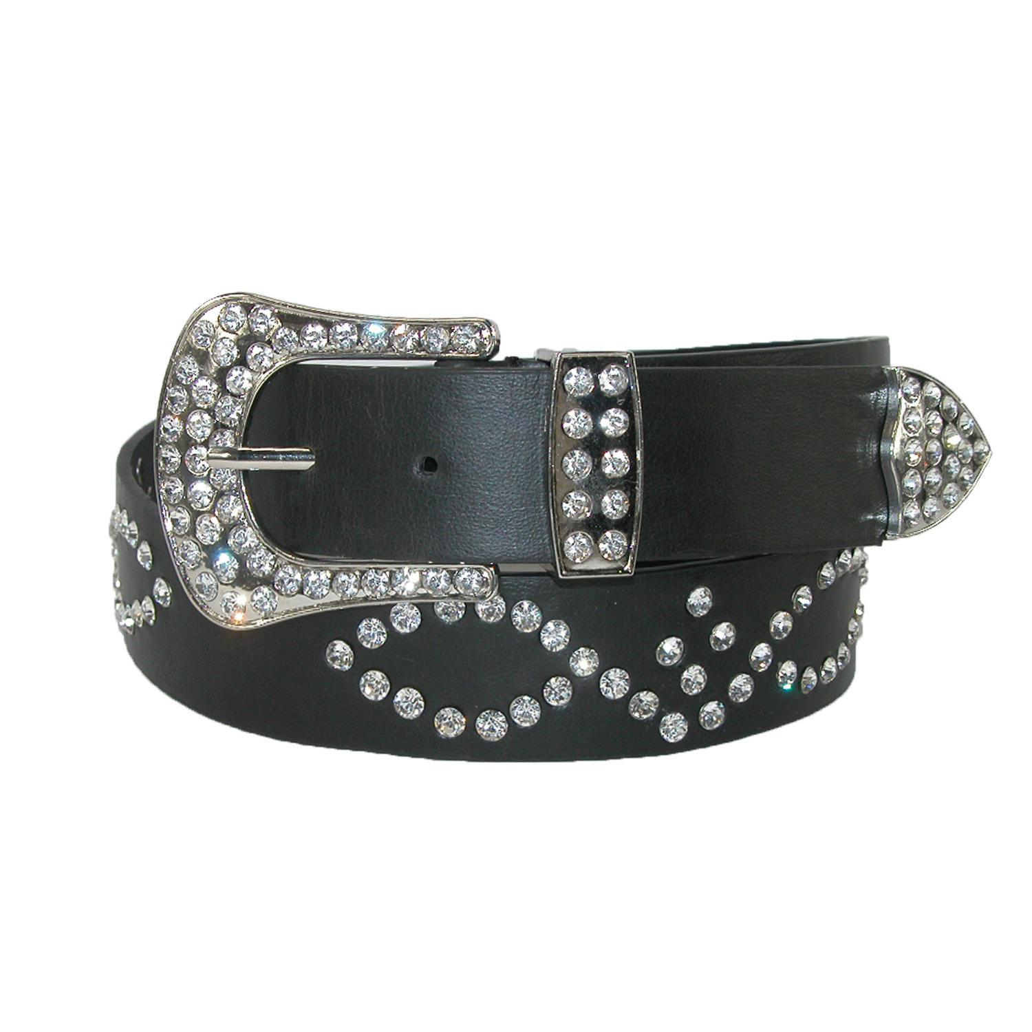 3 D Belt Company Women's 1 3/8 Inch Bridle Belt With Rhinestones