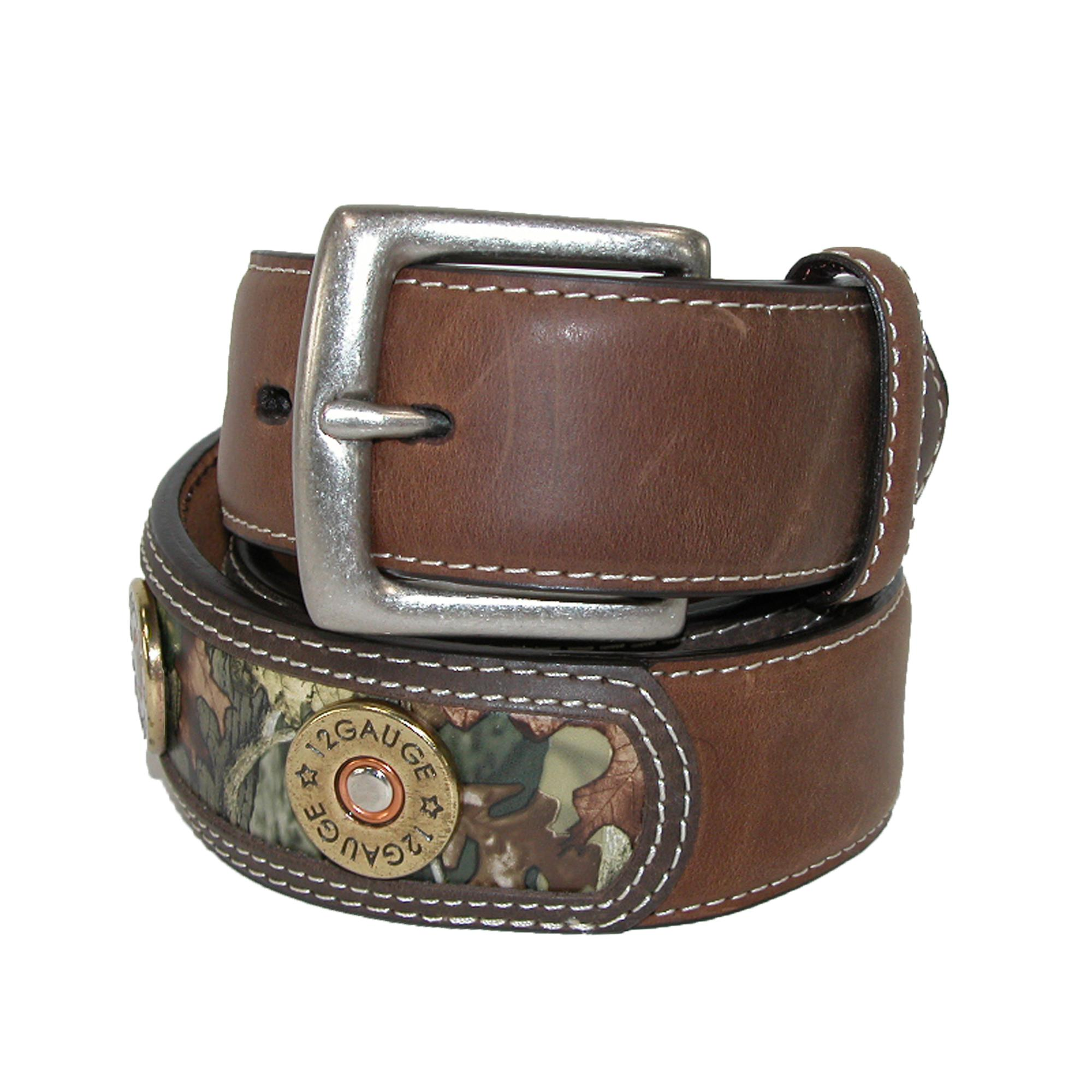 3 D Belt Company Mens Leather Belt With Shotgun Shells And Camo Inlay