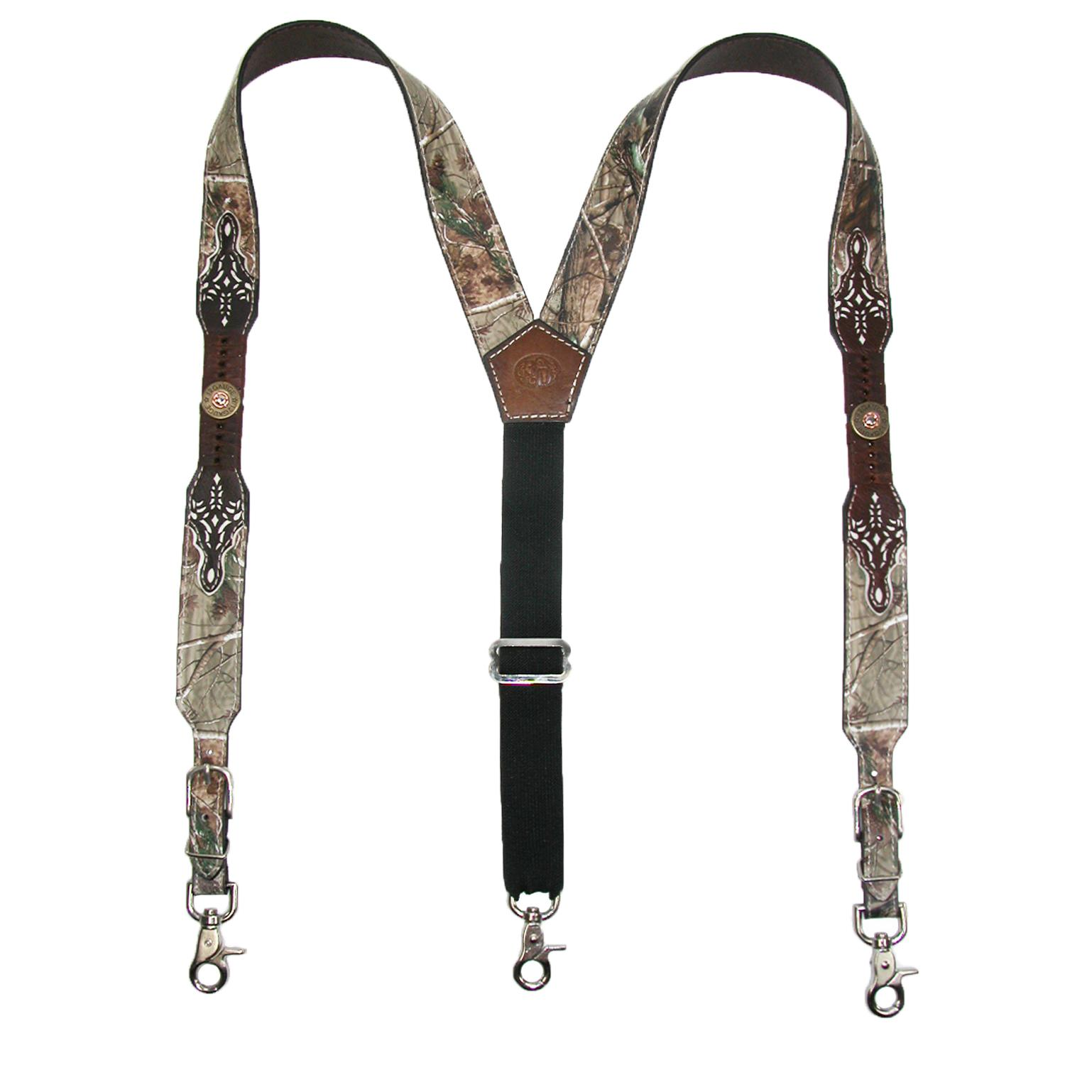3 D Belt Company Mens Leather Camouflage Lobster Claw Clip End Suspenders