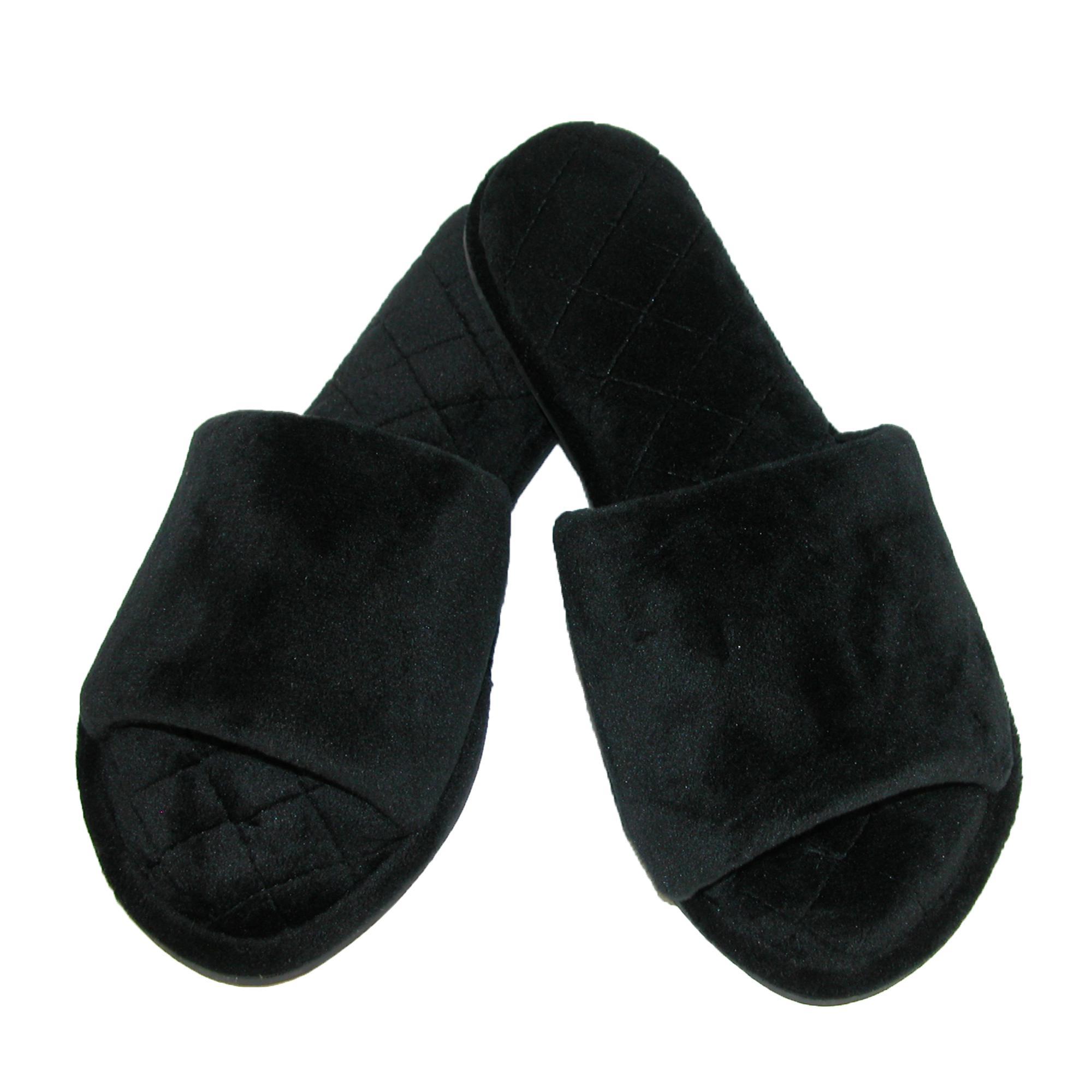 New Dearfoams Women/'s Velour Side Gore Slide Slipper with Microfiber