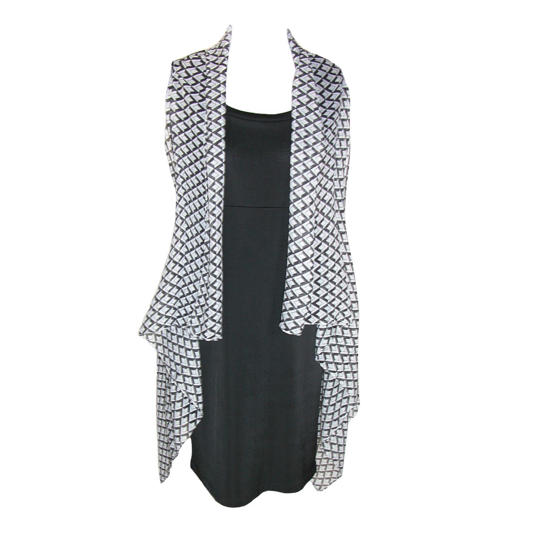 Ctm Womens Sheer Lightweight  Geometric Vest Shawl