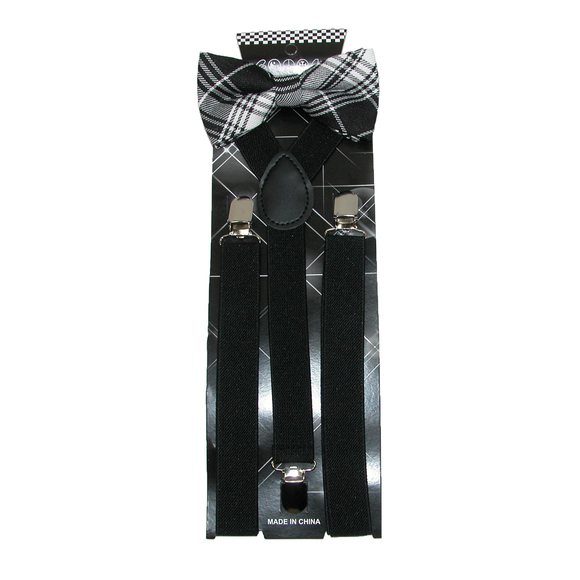 Ctm Mens Plaid Print Bow Tie With Solid Suspender Set