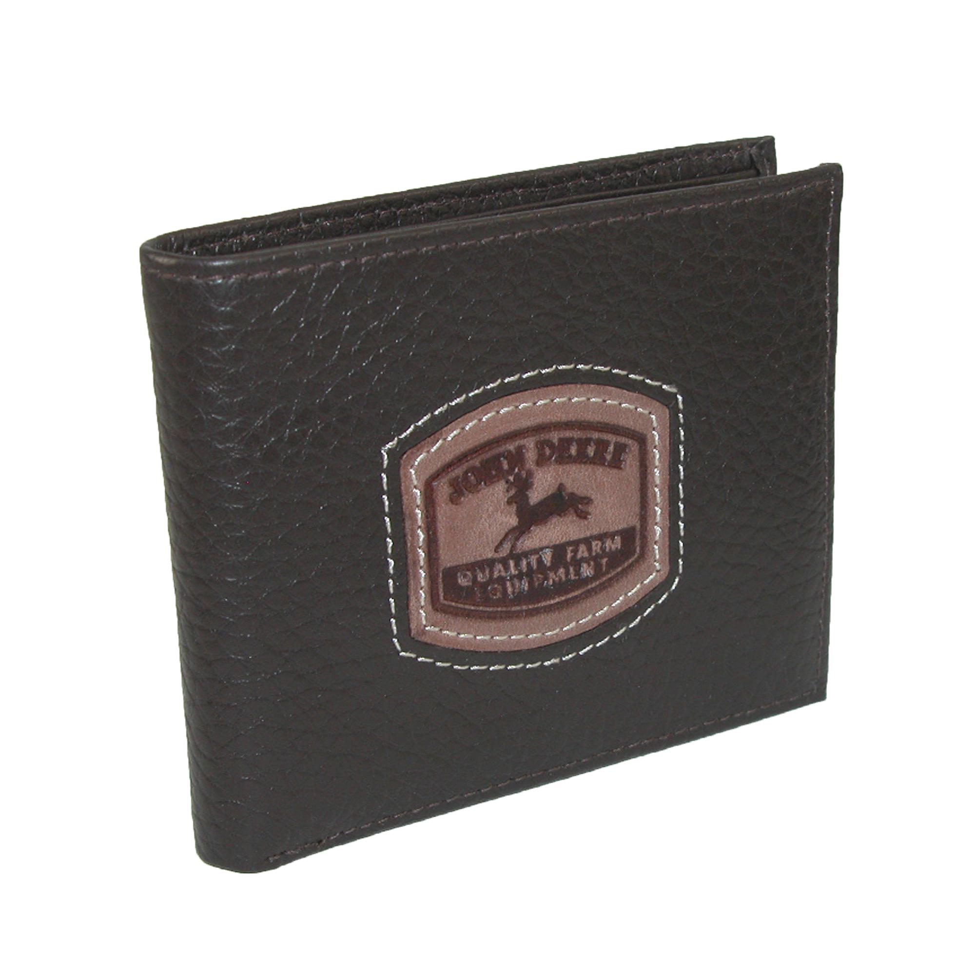 John Deere Men's Leather Passcase Billfold Wallet With Embossed Patch