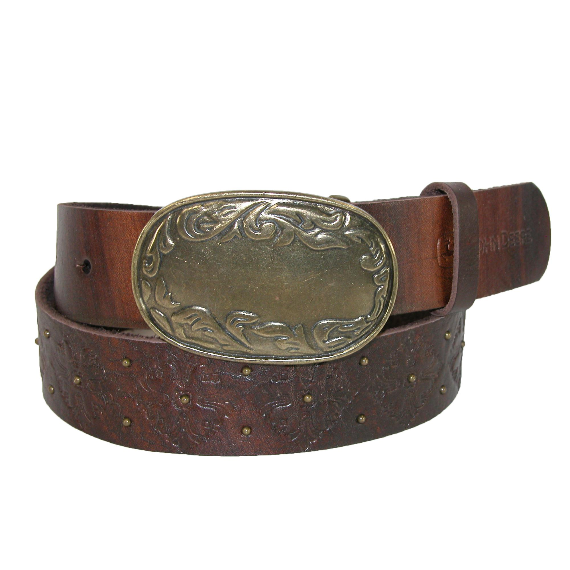 John Deere Womens Distressed Belt With Antiqued Floral Buckle