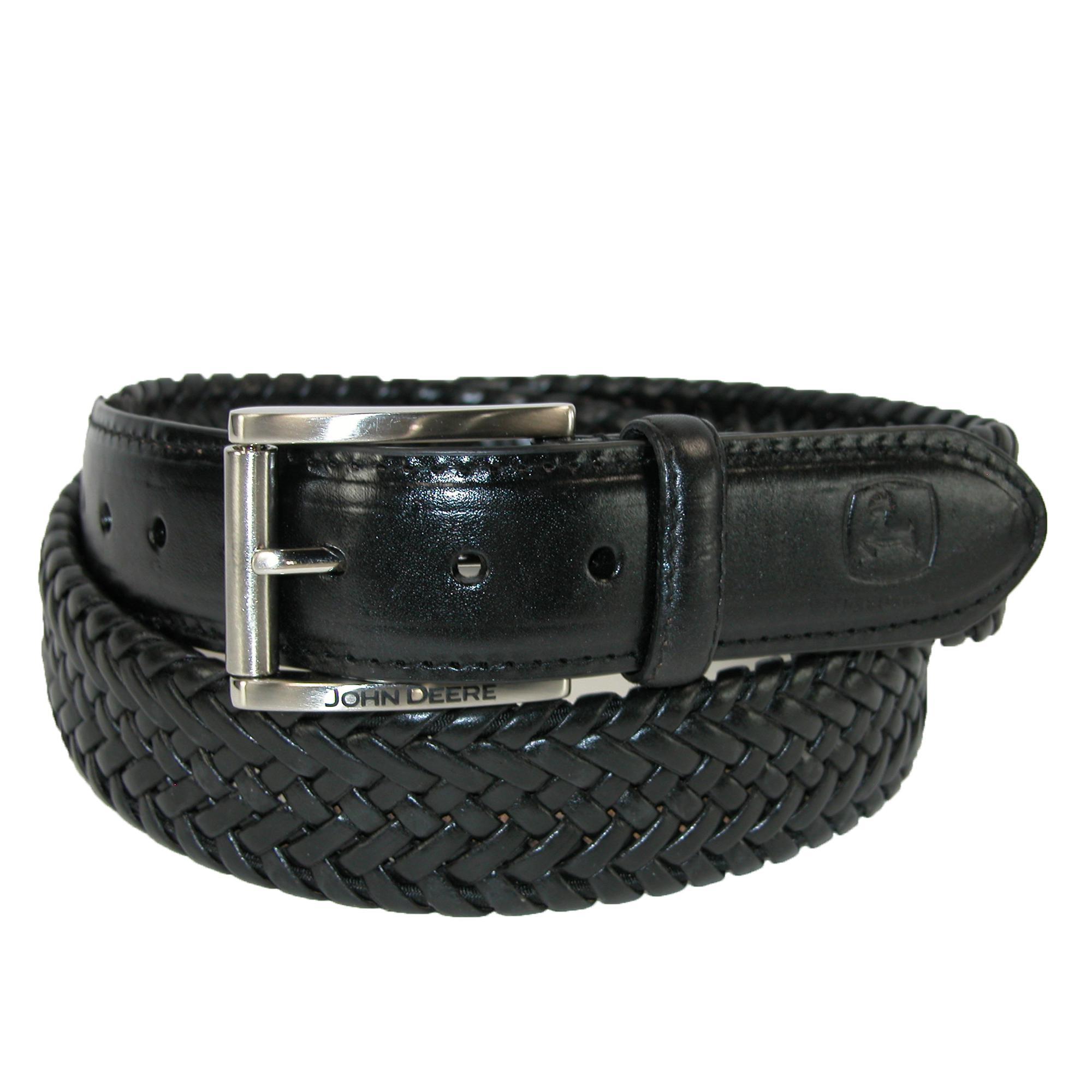 John Deere Mens Leather Braided Stretch Belt
