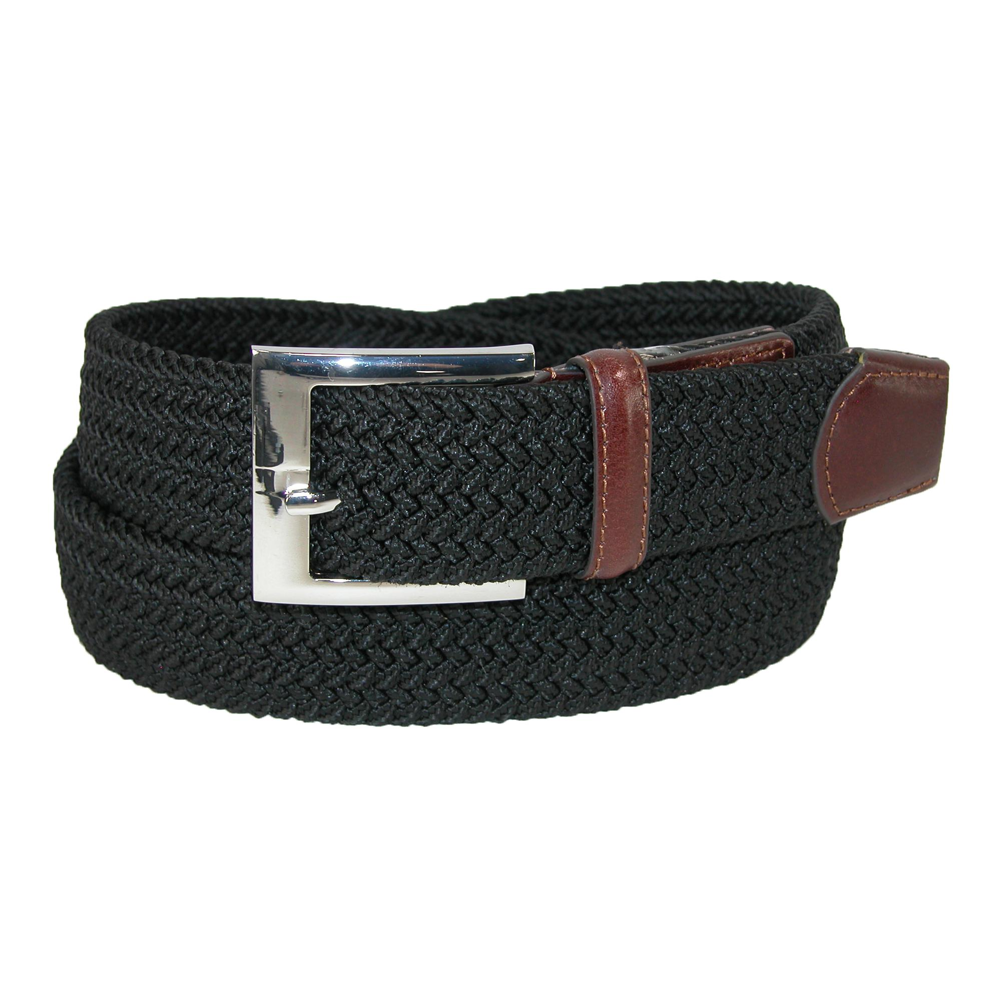 Pga Mens Fabric Braided Stretch Golf Belt With Leather End Tabs