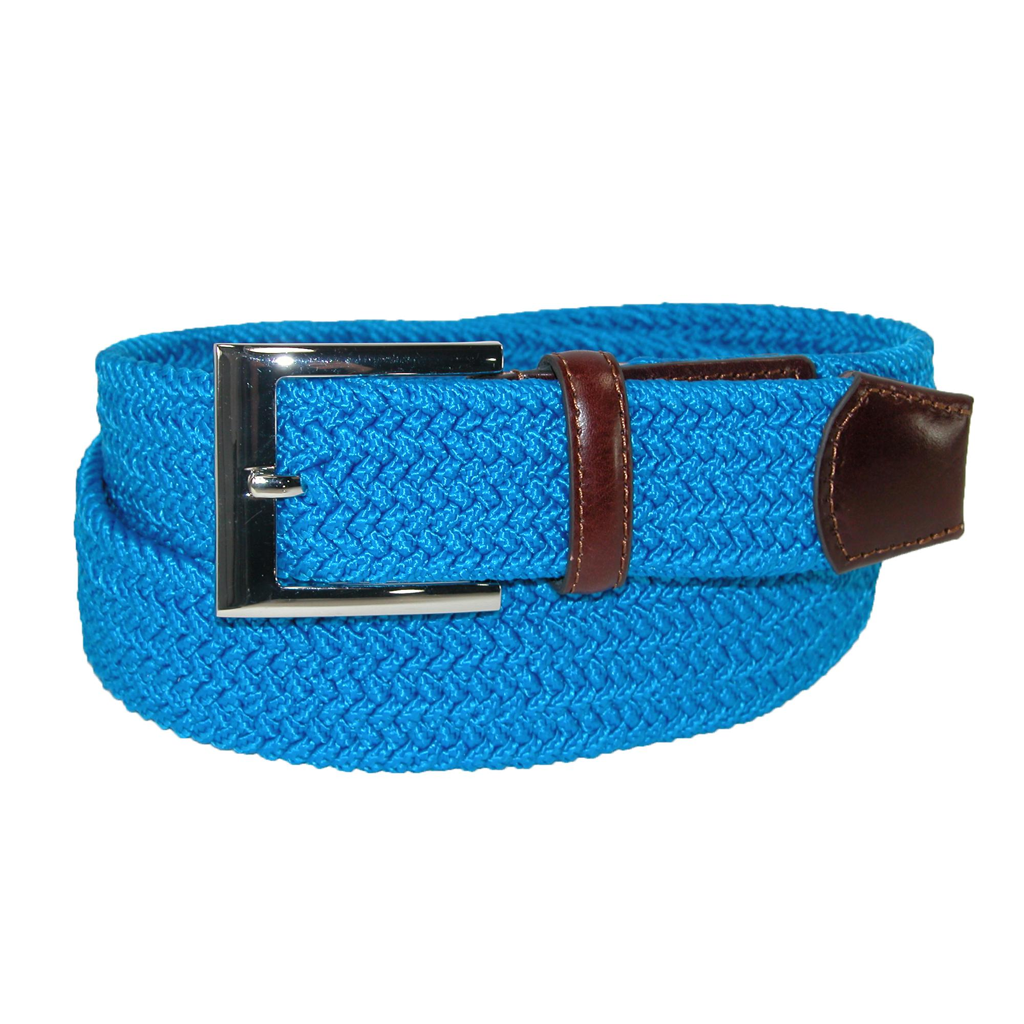 Pga Tour Mens Fabric Braided Stretch Golf Belt With Leather End Tabs