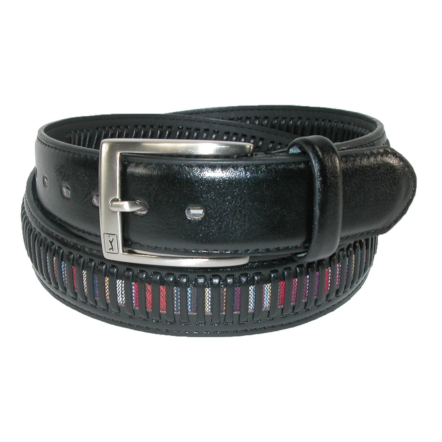 Pga Mens Leather Golf Belt With Fabric Inlay