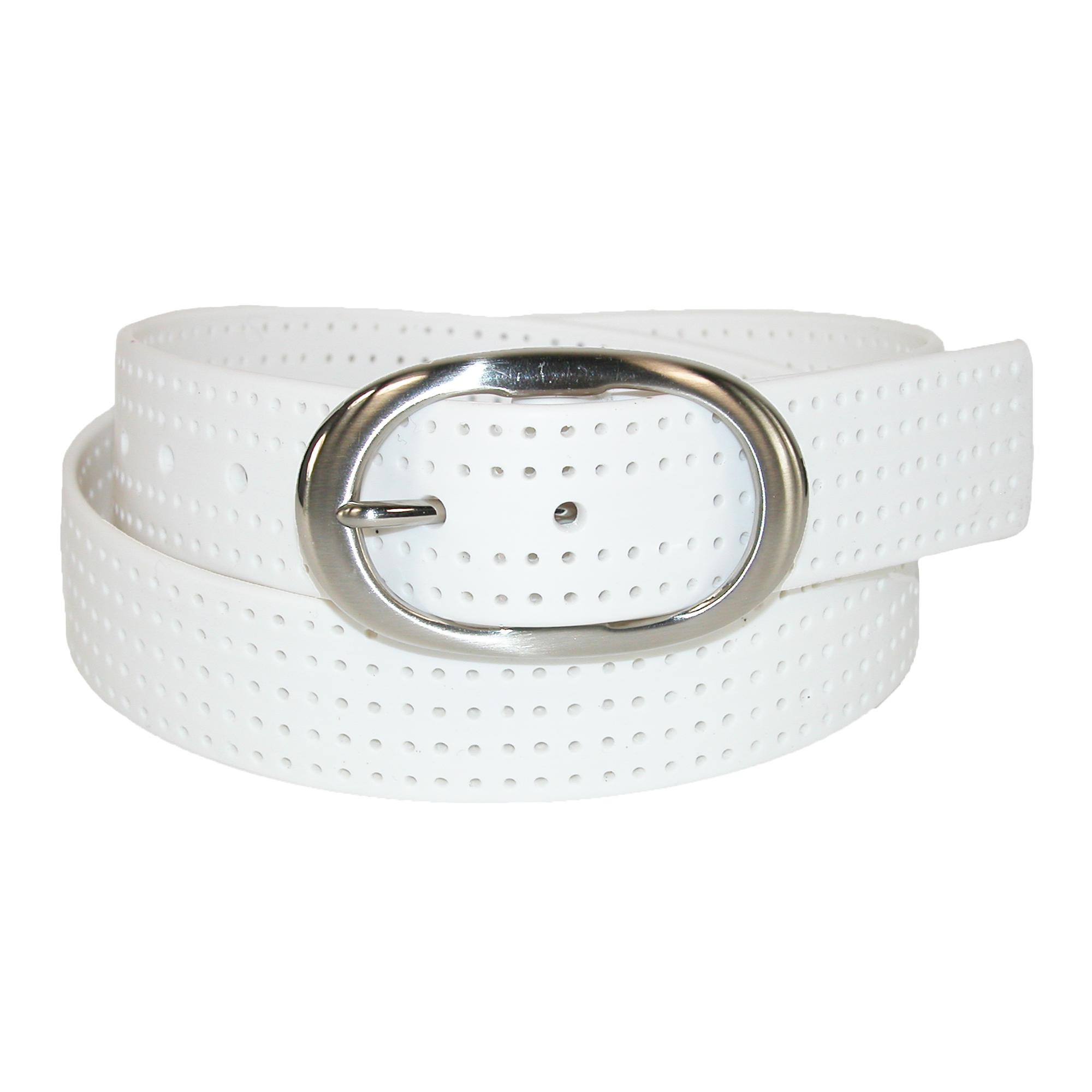 Pga Womens Silicone Perforated Golf Belt With Center Bar Buckle