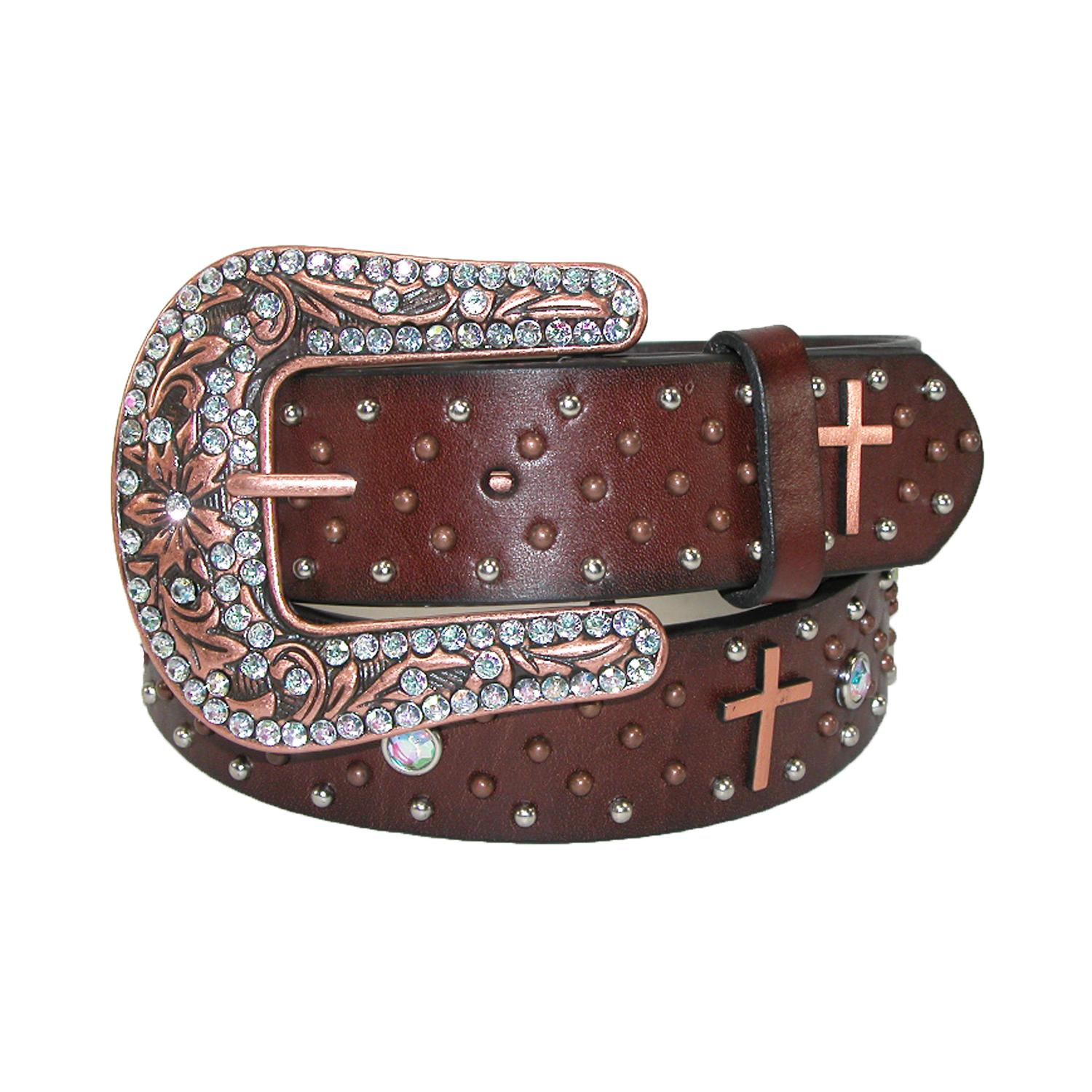 Roper Womens Leather Removable Buckle Belt With Copper Crosses