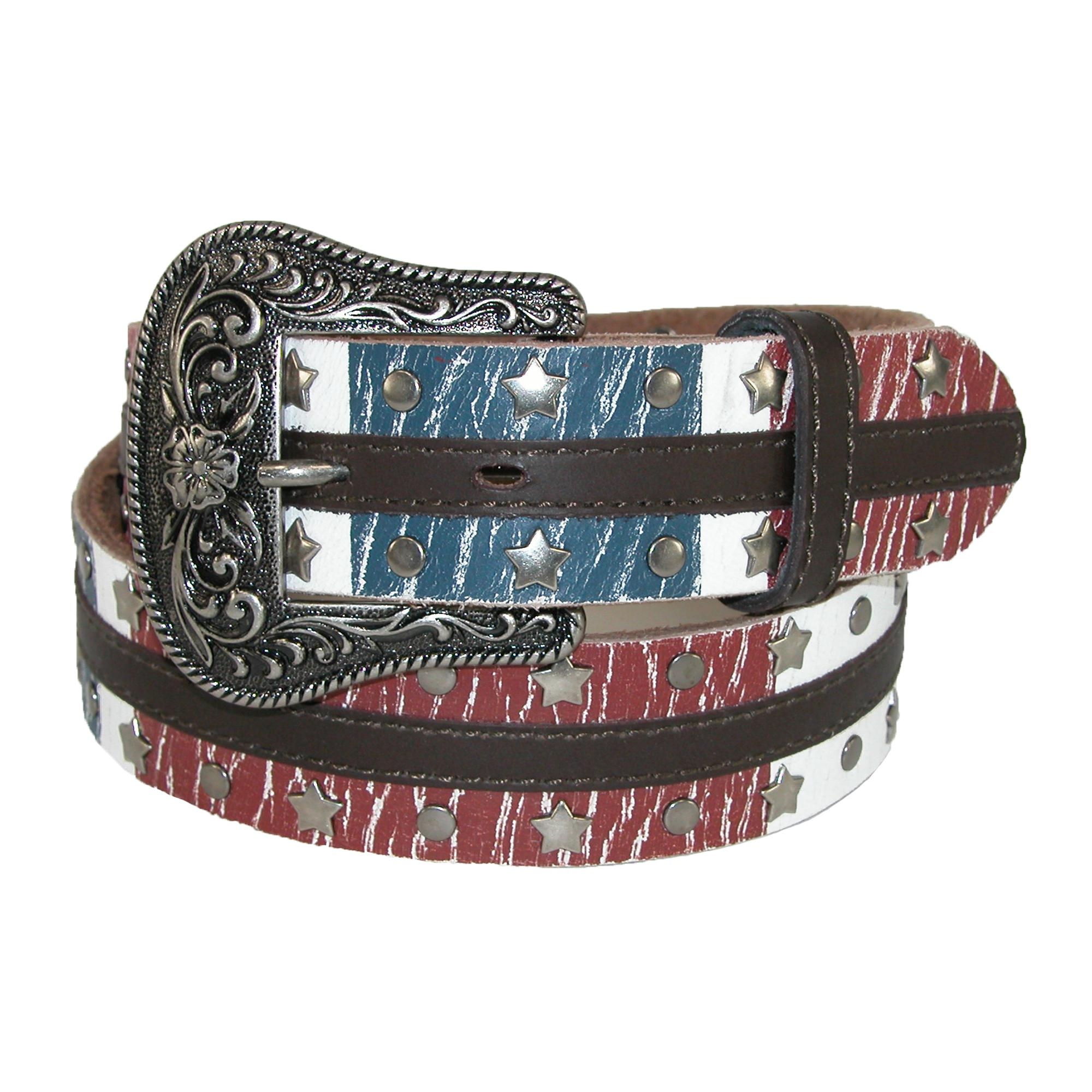 Dan Post Womens Leather American Flag Western Belt With Removable Buckle