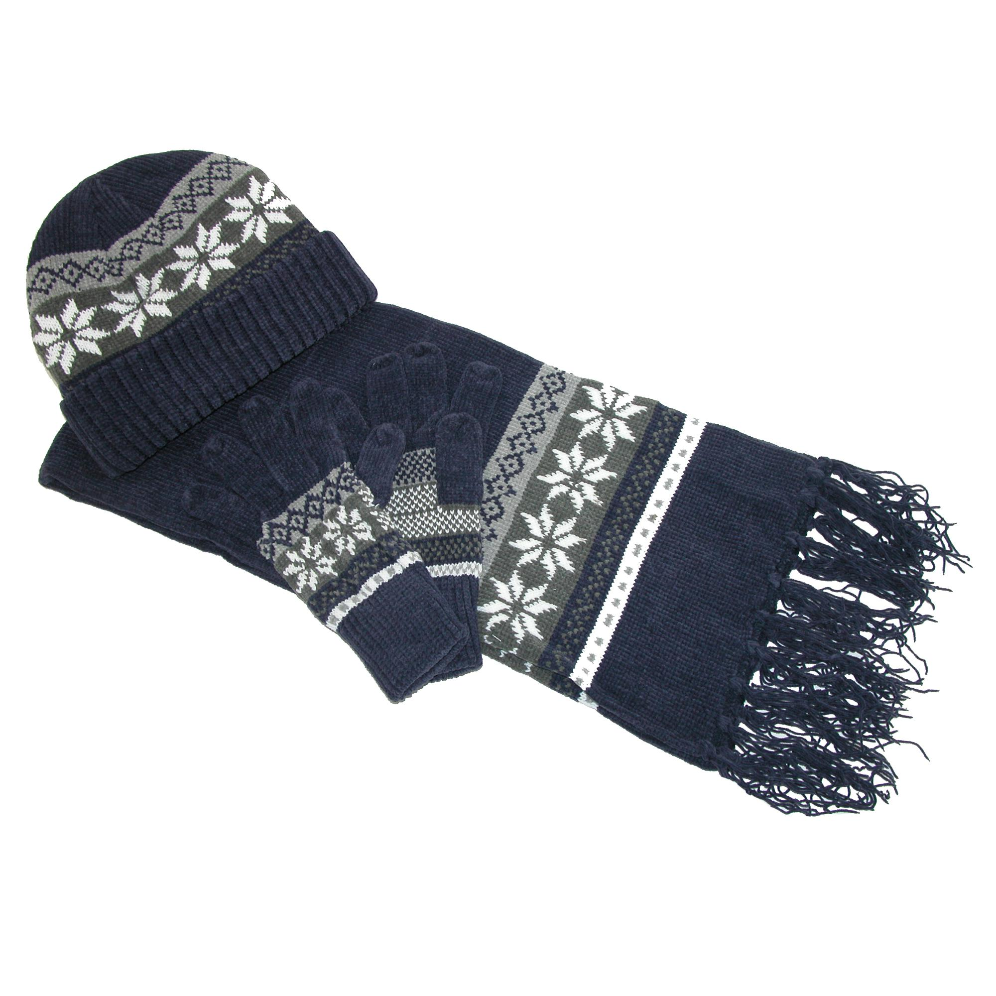 new ctm womens chenille snowflake print hat gloves and