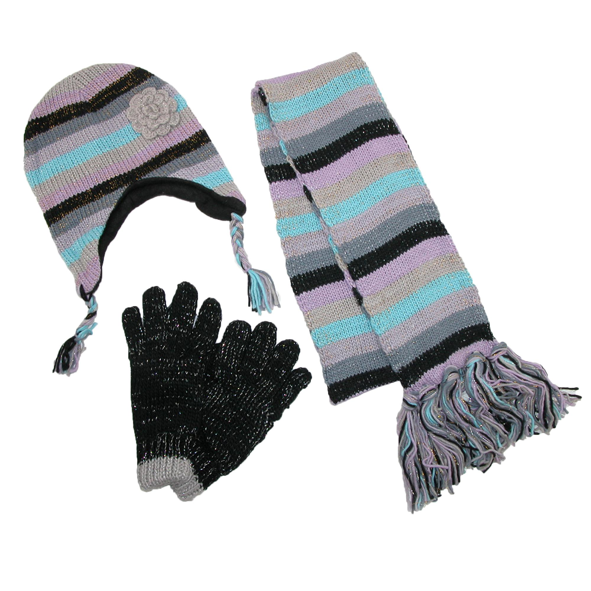 Ctm Womens Striped With Rosette Hat Gloves And Scarf Winter Set