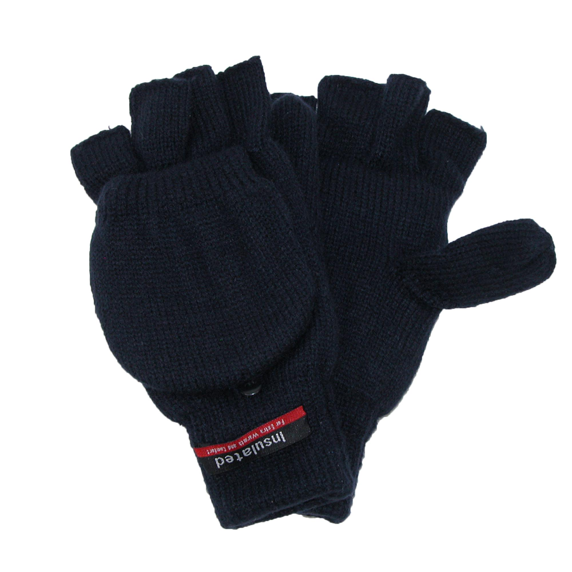 CTM Men's Knit Flip Top Thinsulate Lined Gloves