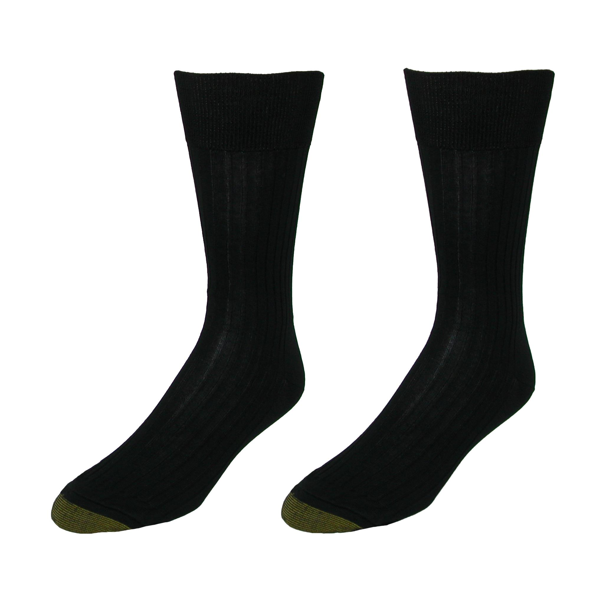 New Gold Toe Men/'s Comfort Top Dress Socks Extended Size Available 2 Pair Pack