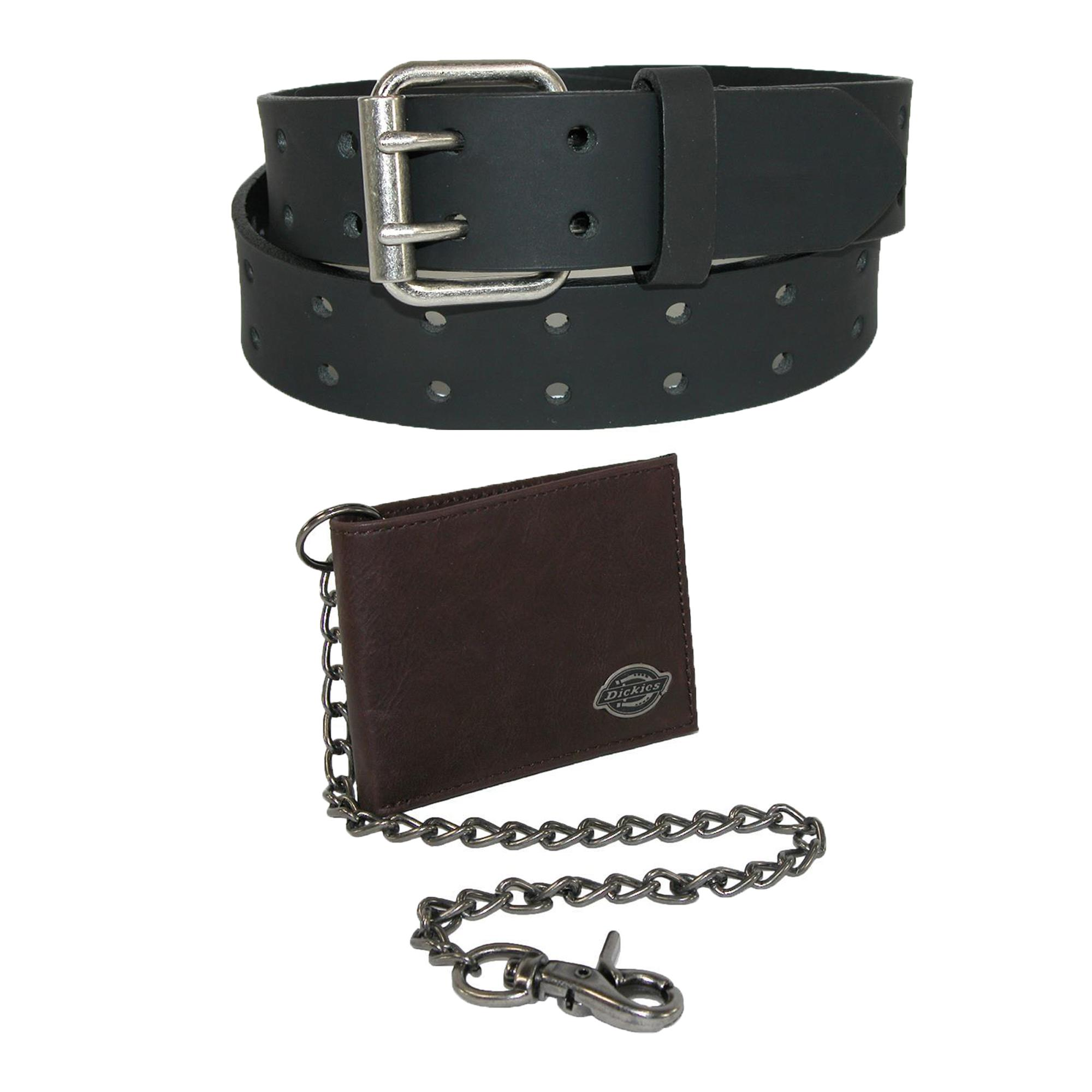 Dickies Mens Leather Chain Wallet And Two Hole Bridle Belt