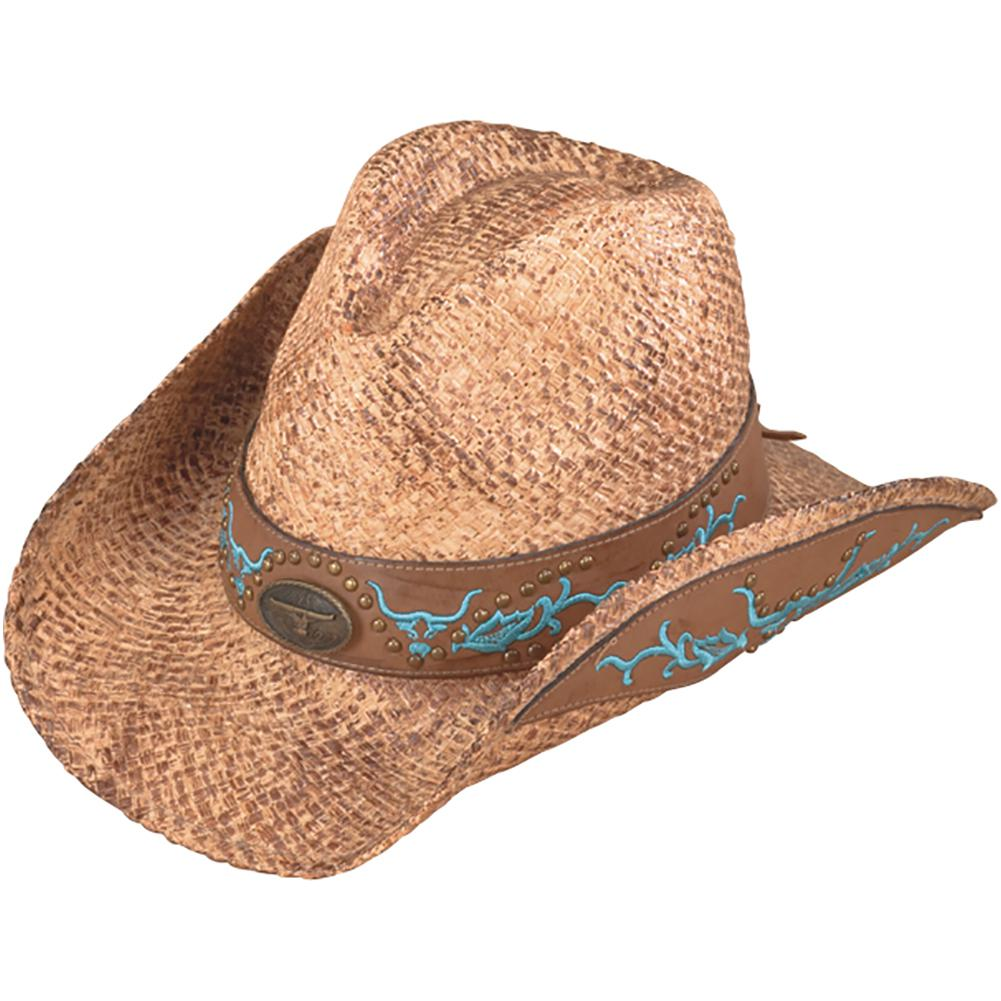 Henschel Hand Stained Raffia with Embroidery Western Cowboy Hat