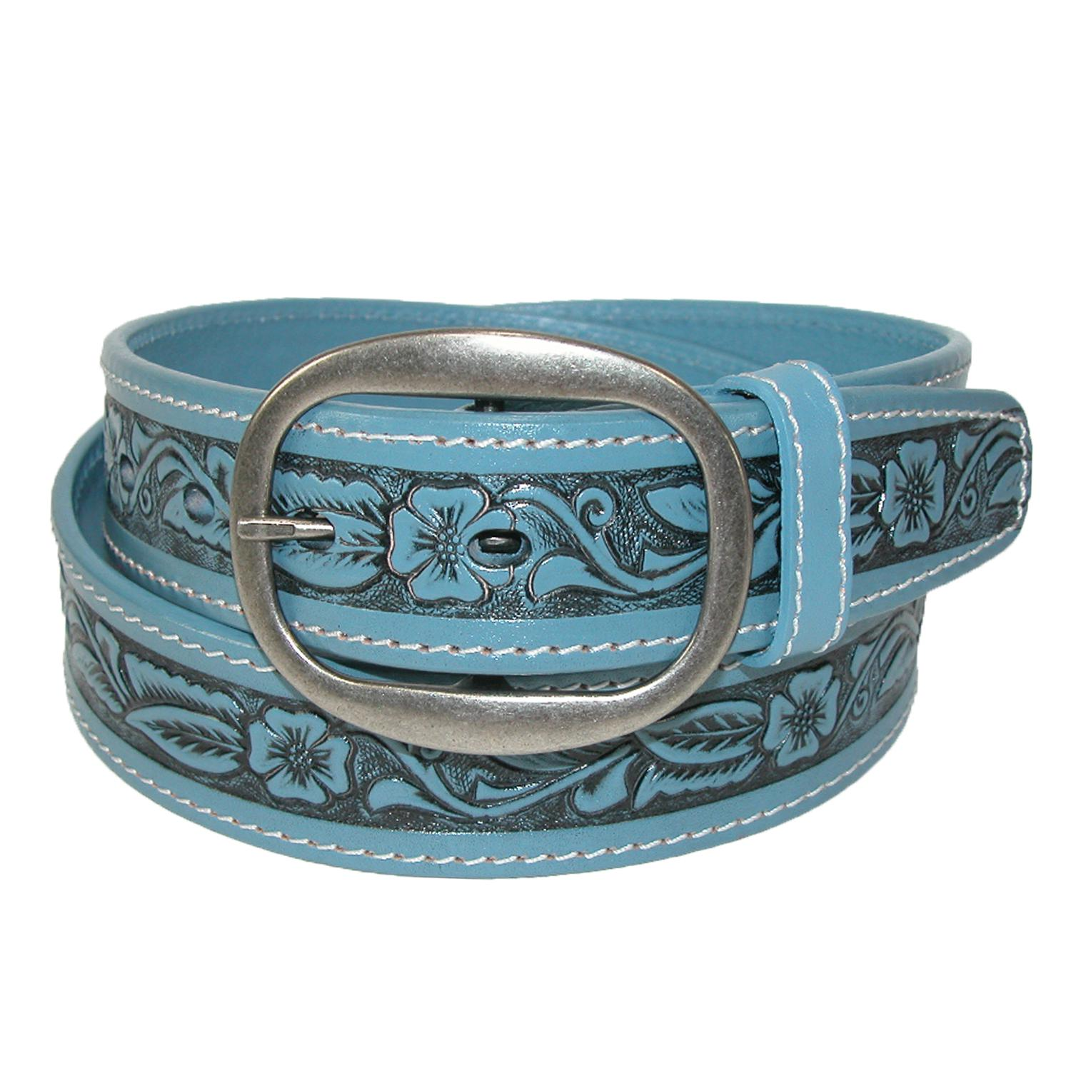 new ctm leather western embossed belt with removable