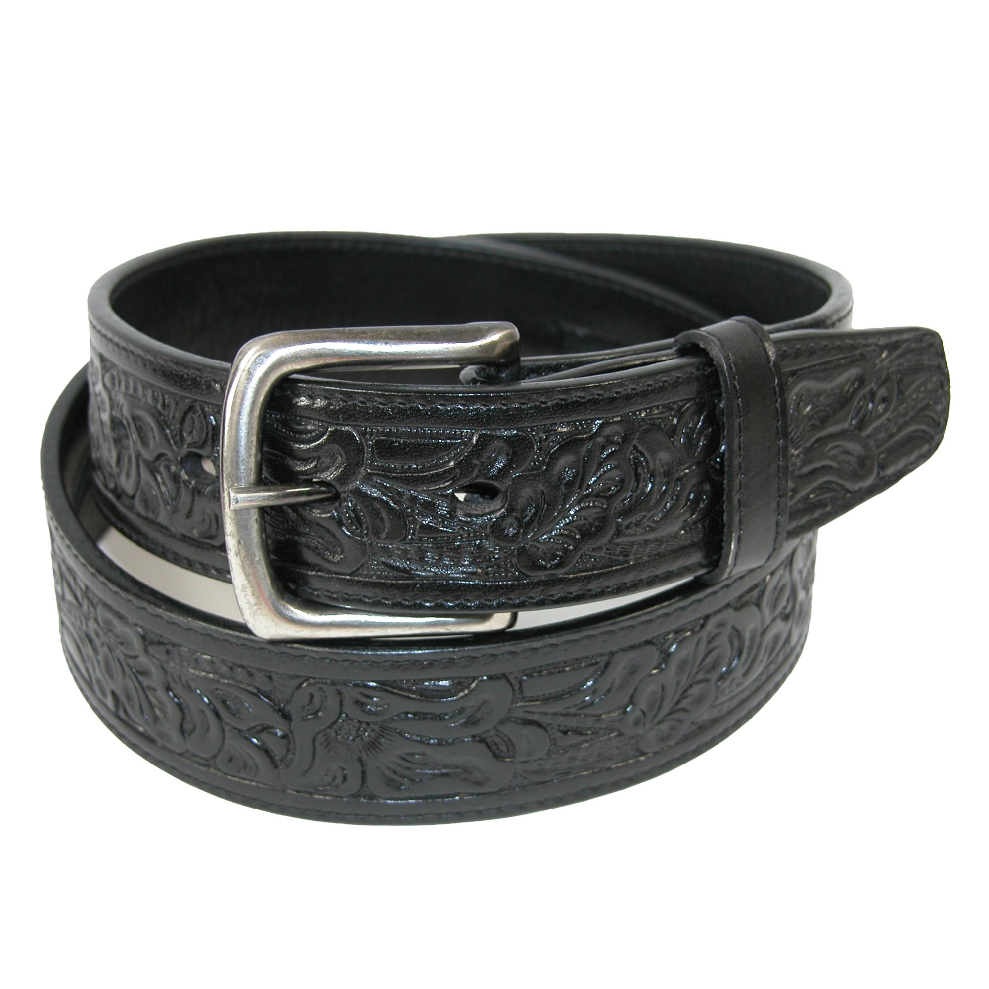 new ctm embossed leather money belt with removable buckle