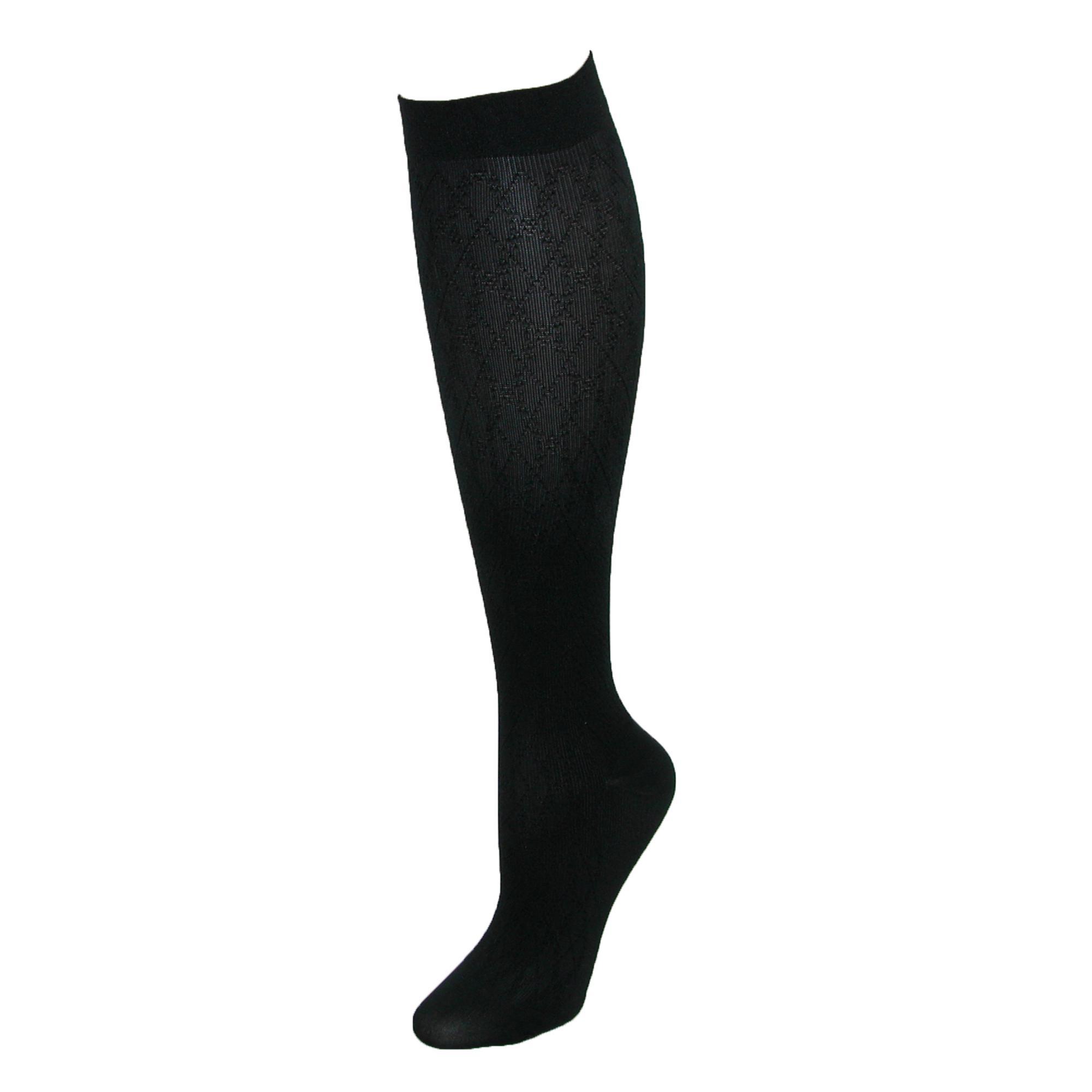Jefferies Socks Womens Compression Dress Sock With Diamond Pattern