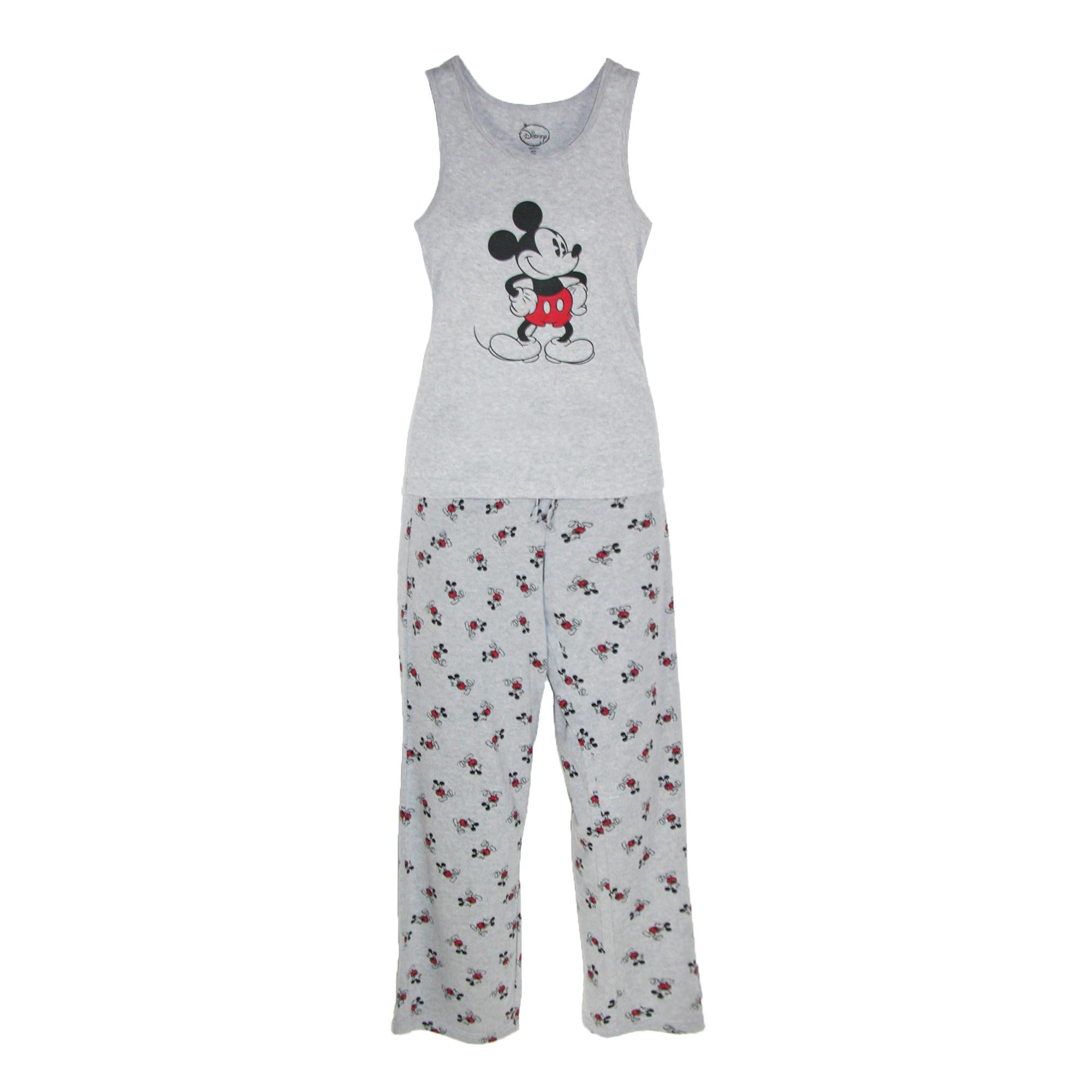 Disney Mickey Mouse Womens Tank And Pant Pajama Set