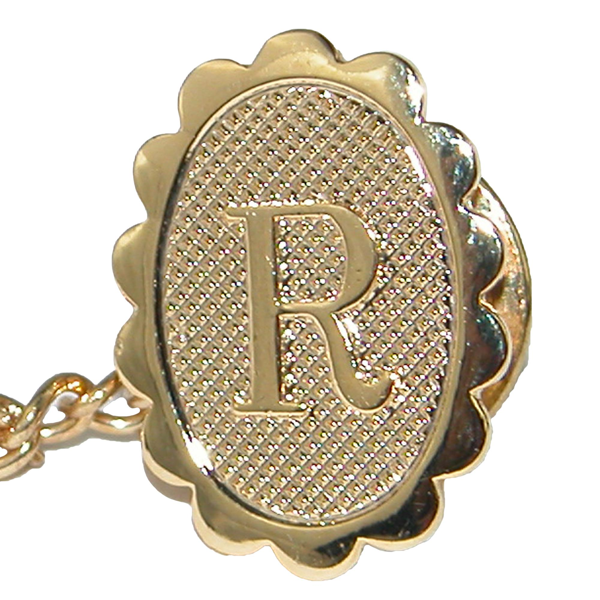 Jaymar Mens Oval Initial Tie Tack In Gold