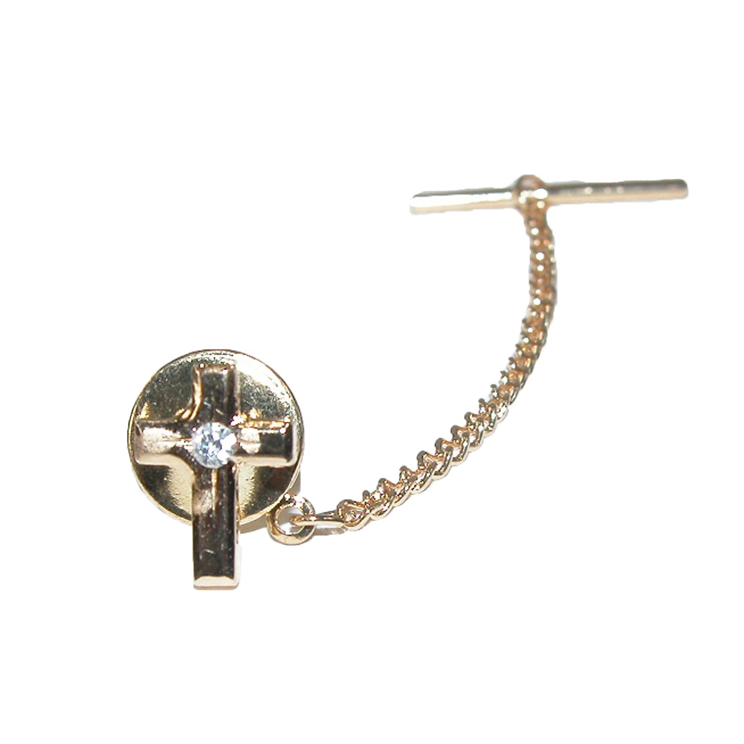 Ctm Mens Cross With Rhinestone Accent Tie Tack Pin