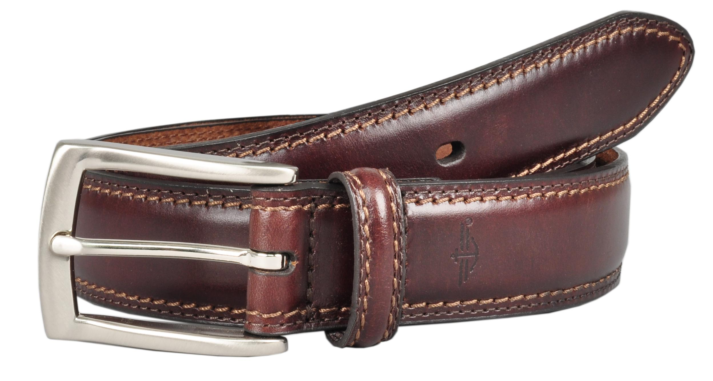 Dockers Mens Leather 1 1/4 Inch Feather Edge Padded Belt