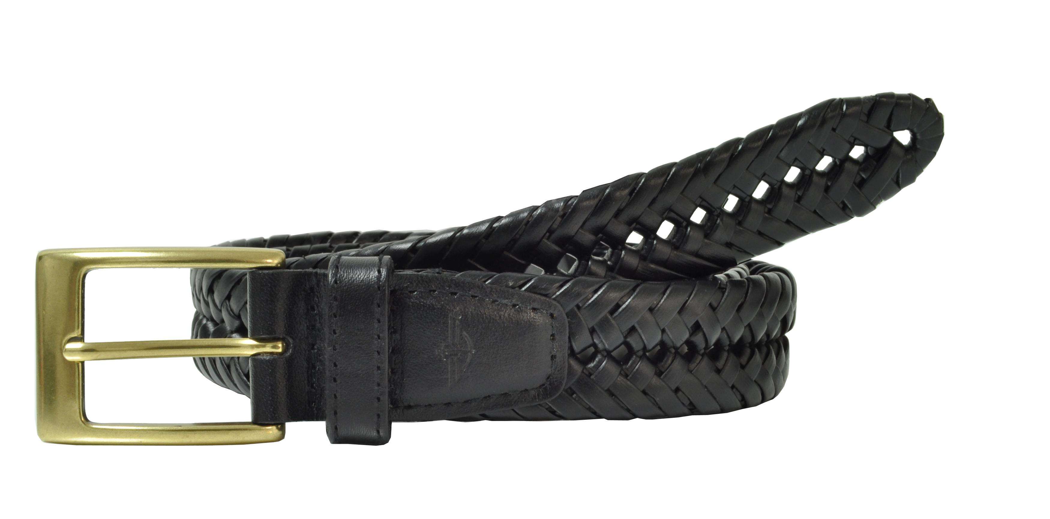 Dockers Mens Leather Fully Adjustable Double V-weave Braided Belt