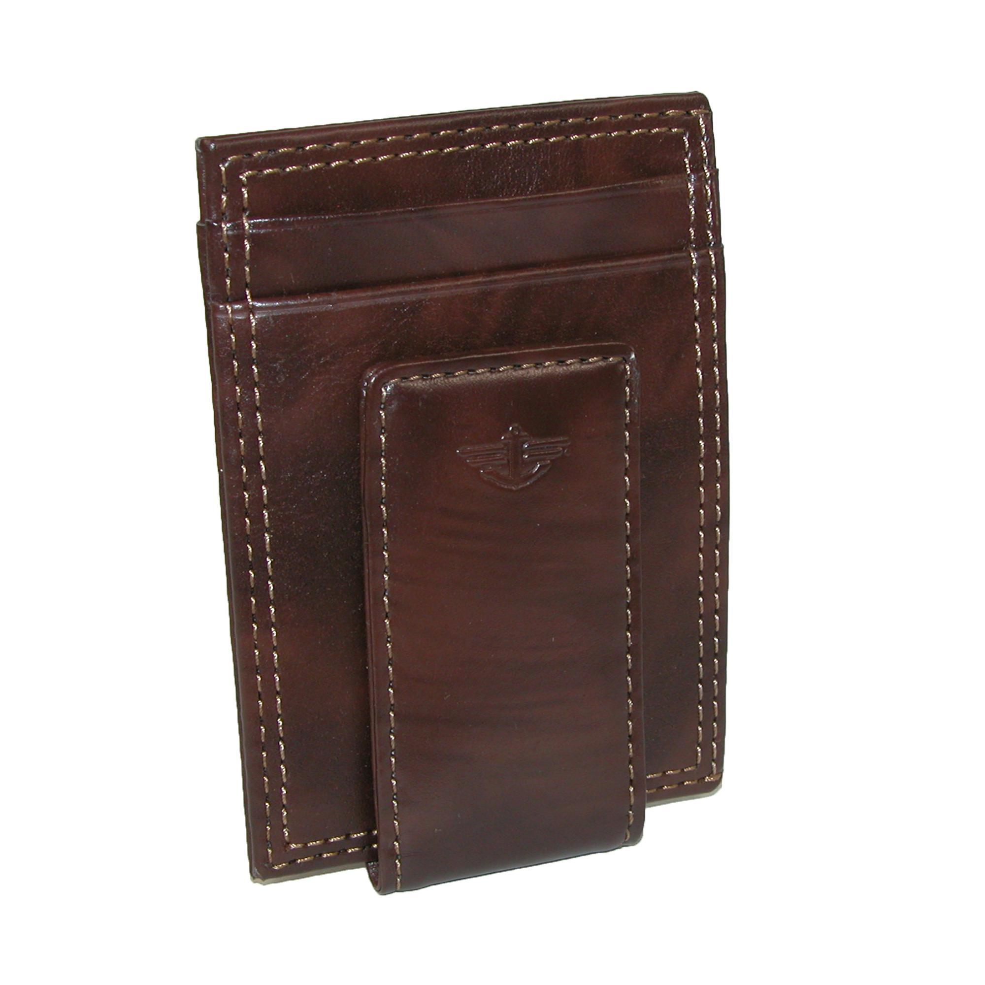 Dockers Men's Leather Slim Front Pocket Wallet With Magnetic Money Clip