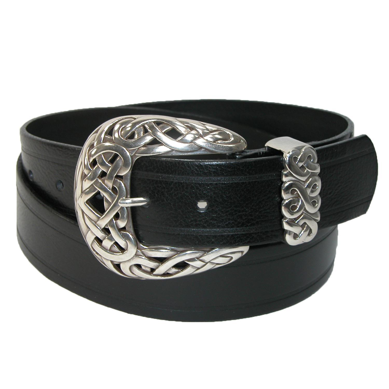 Belt Shak Womens Italian Leather Belt With Celtic Knot Buckle