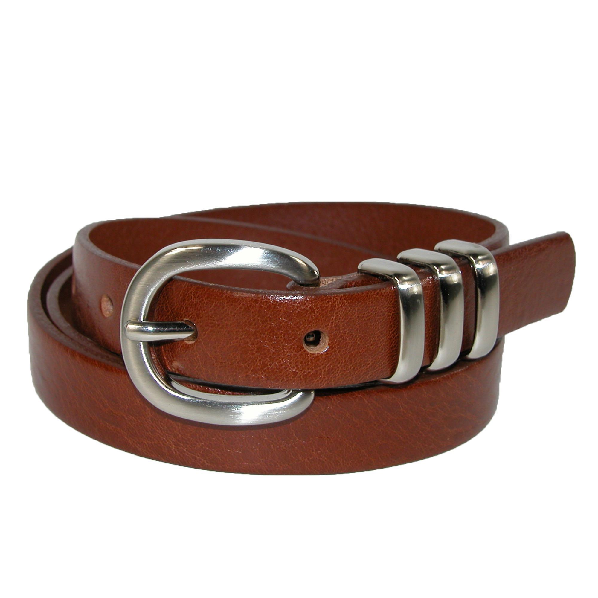 Landes Womens Skinny Belt With 3 Metal Loop Keepers