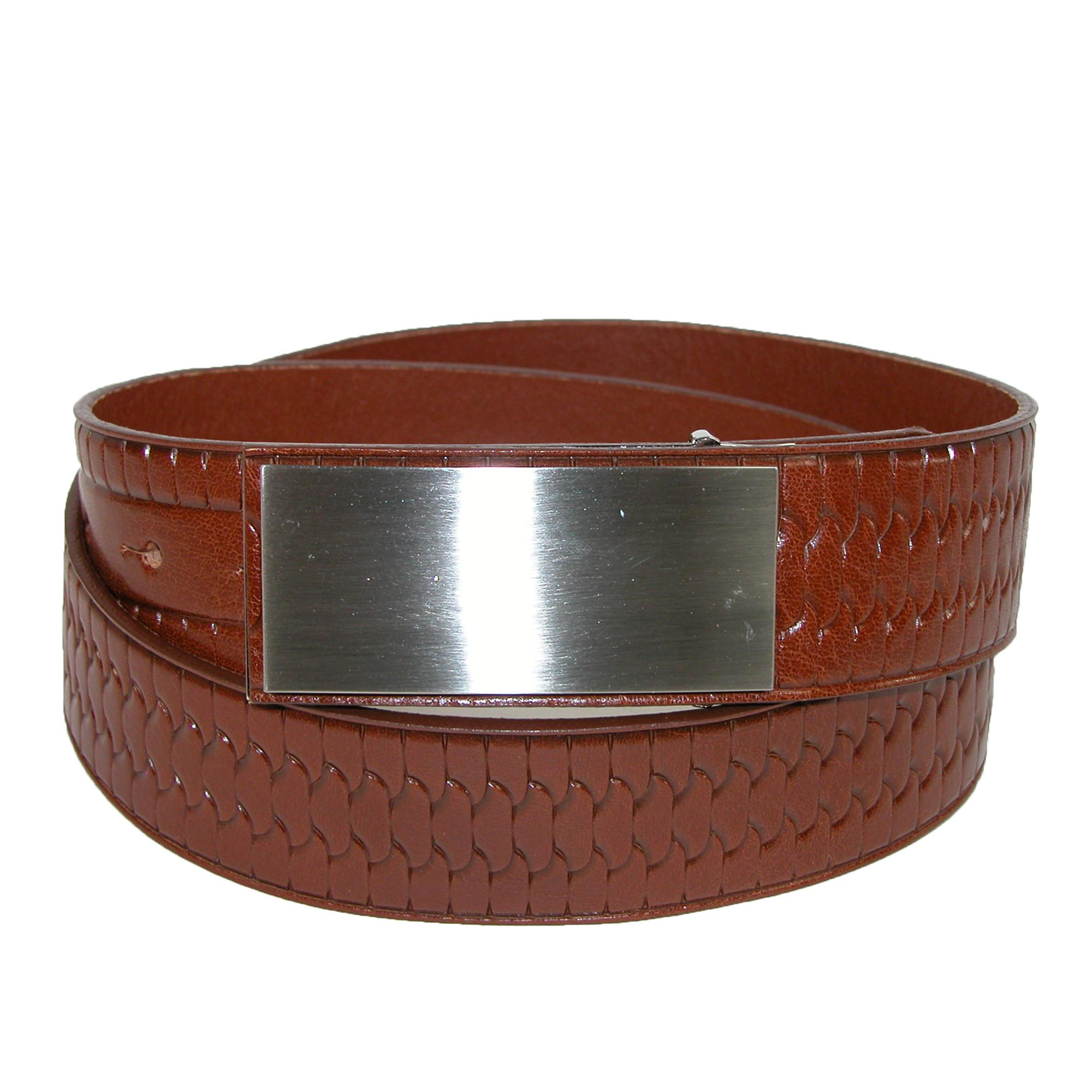 Landes Mens Italian Leather Embossed Belt