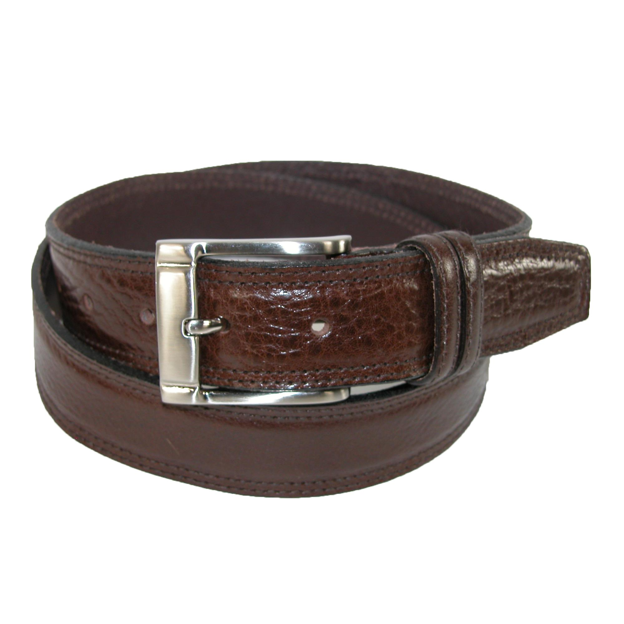 Landes Mens Italian Leather Padded Belt With Stitch Detail