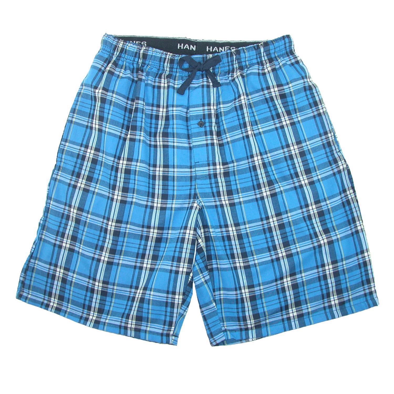 New Hanes Men's Cotton Madras Drawstring Sleep Pajama Shorts | eBay