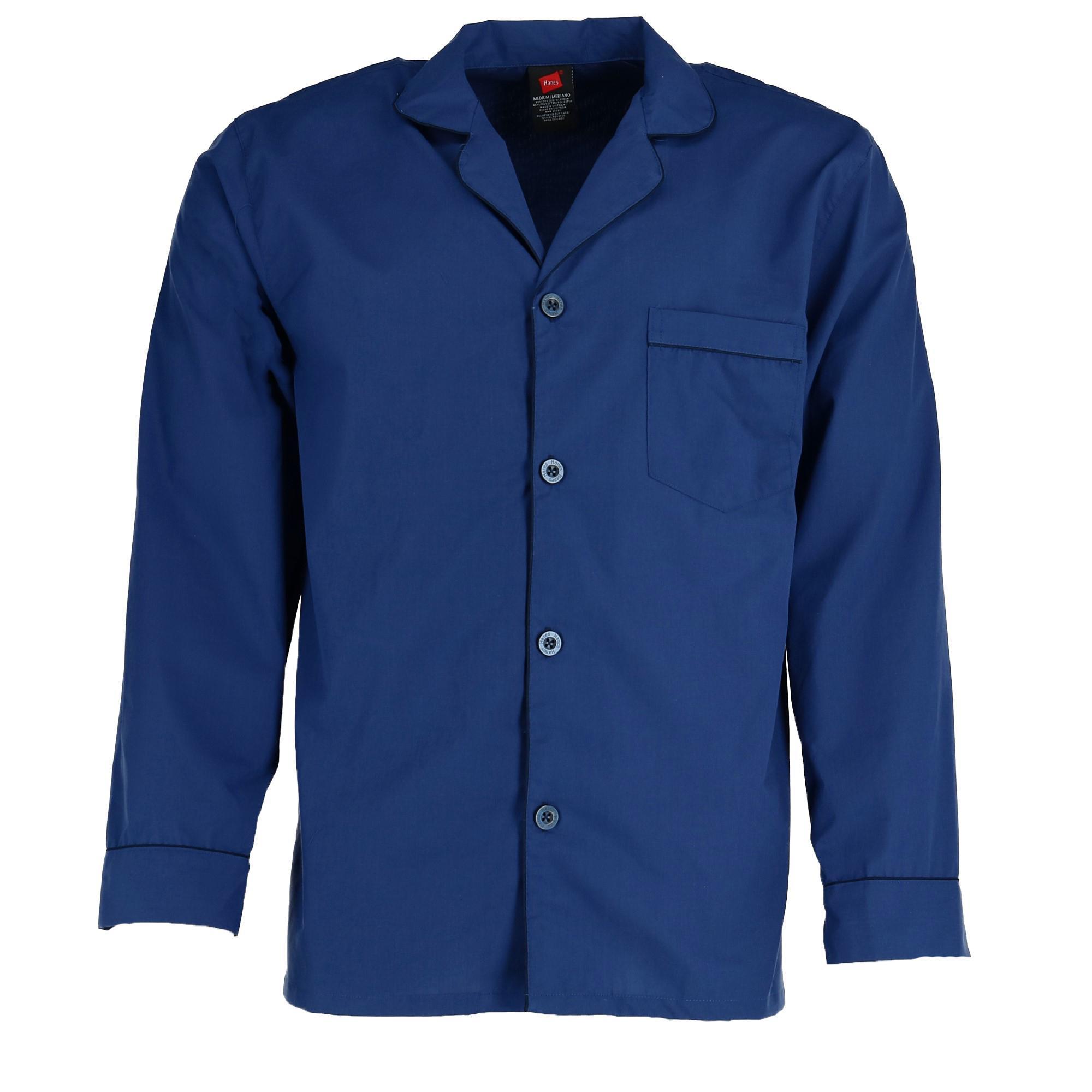 New Hanes Men/'s Big /& Tall Broadcloth Long Sleeve Pajama Set