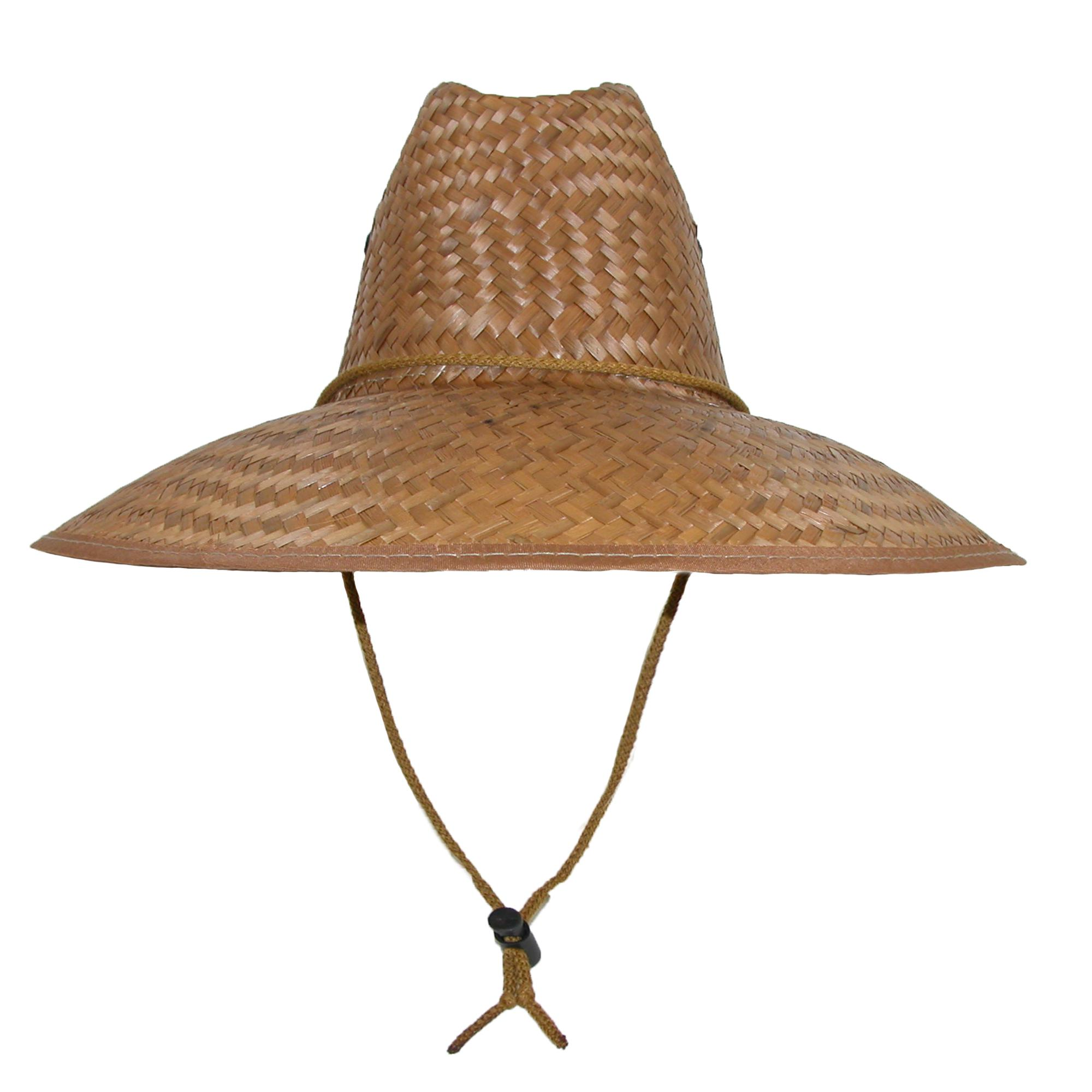 CTM Palm Straw Lifeguard Hat with Wide Brim