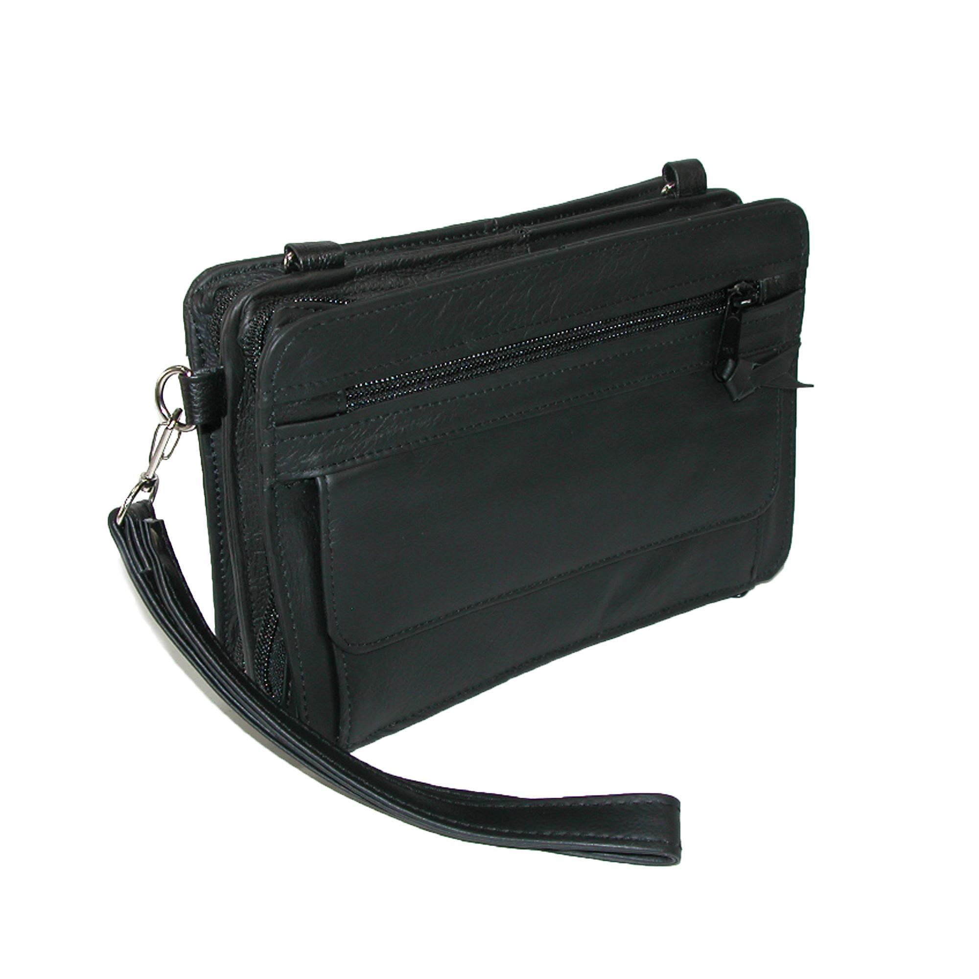 CTM Men's Leather Gun Conceal Carry Waist Pack Bag