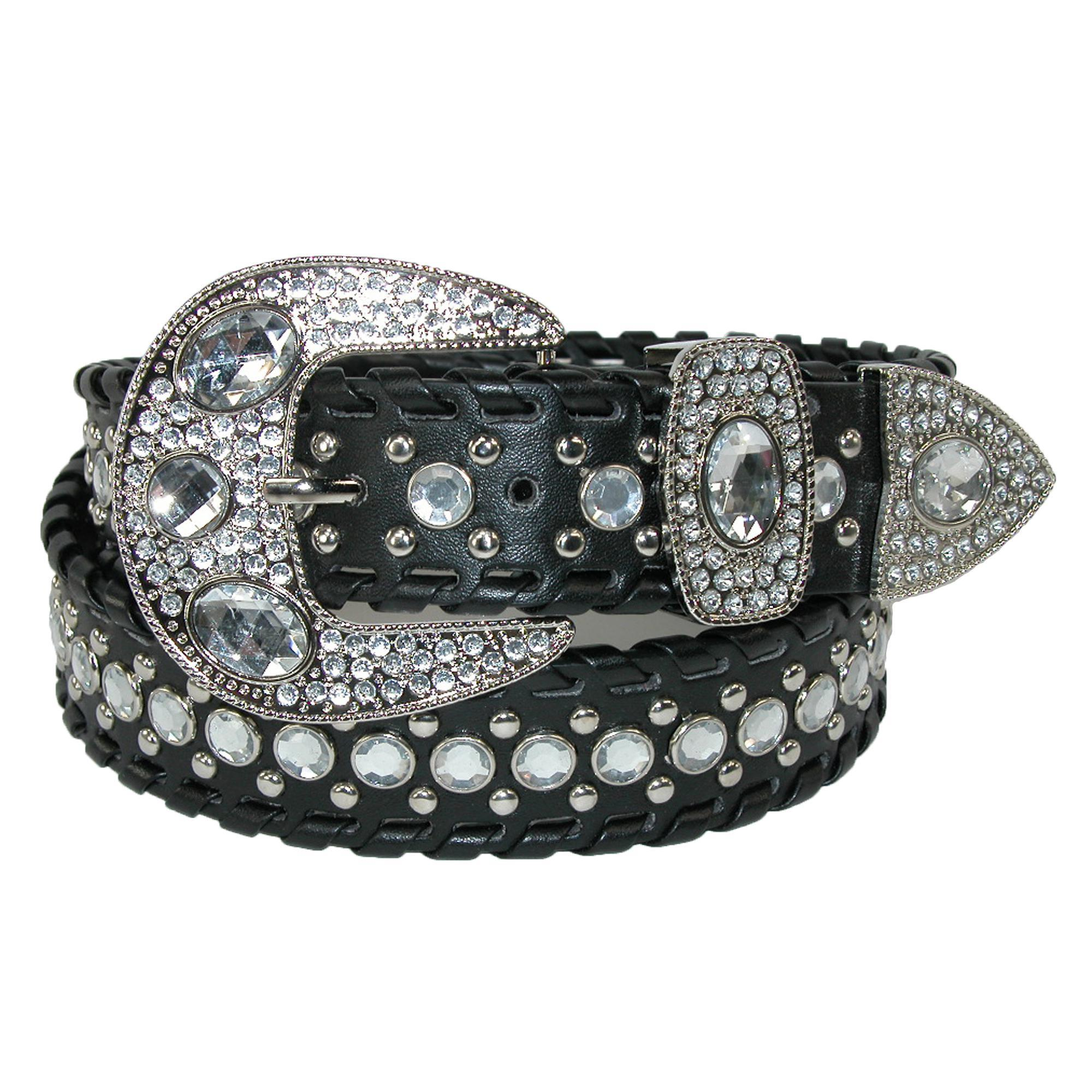Ctm Womens Western Belt With Rhinestones And Studs