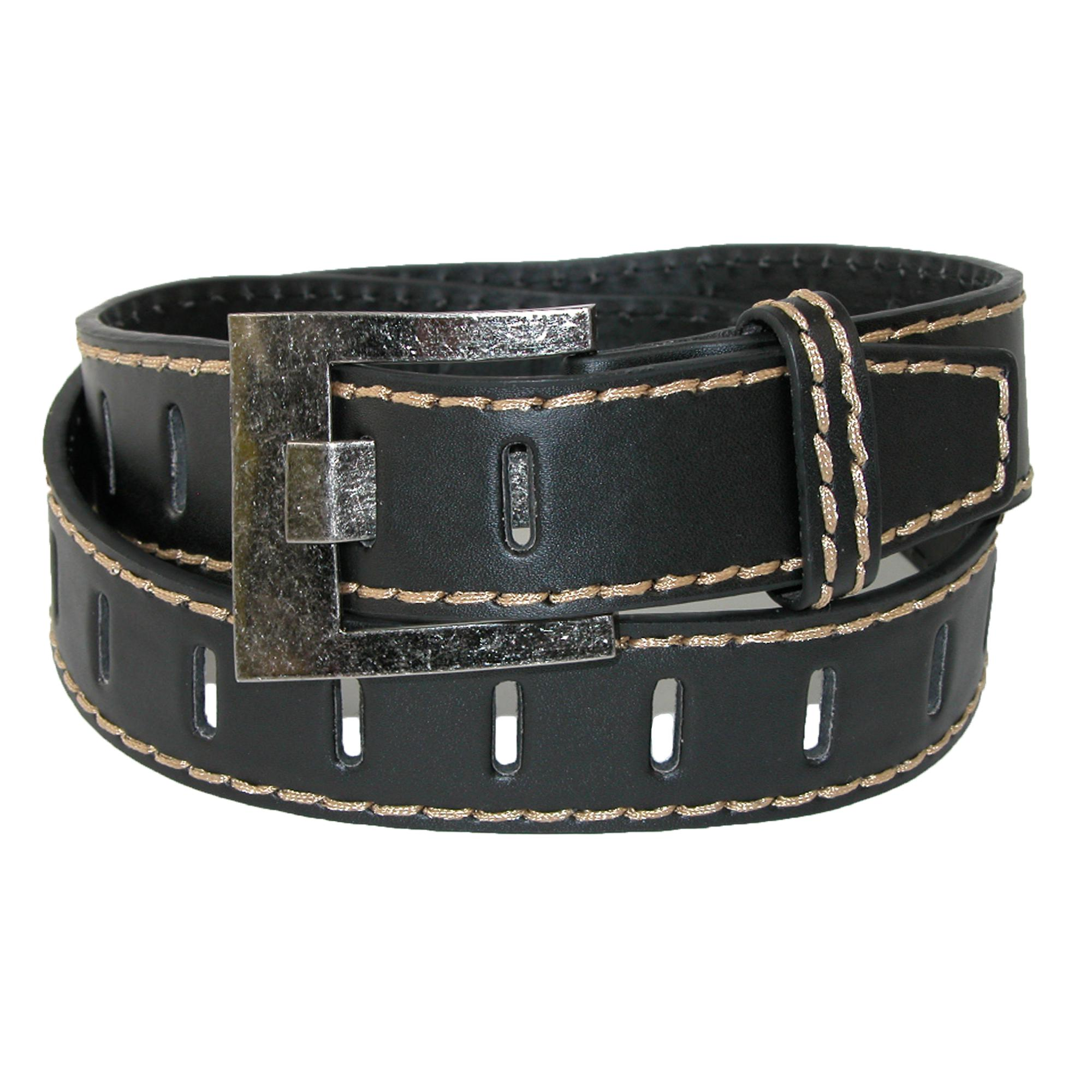 Ctm Mens Leather 1 1/2 Inch Perforated Jean Belt