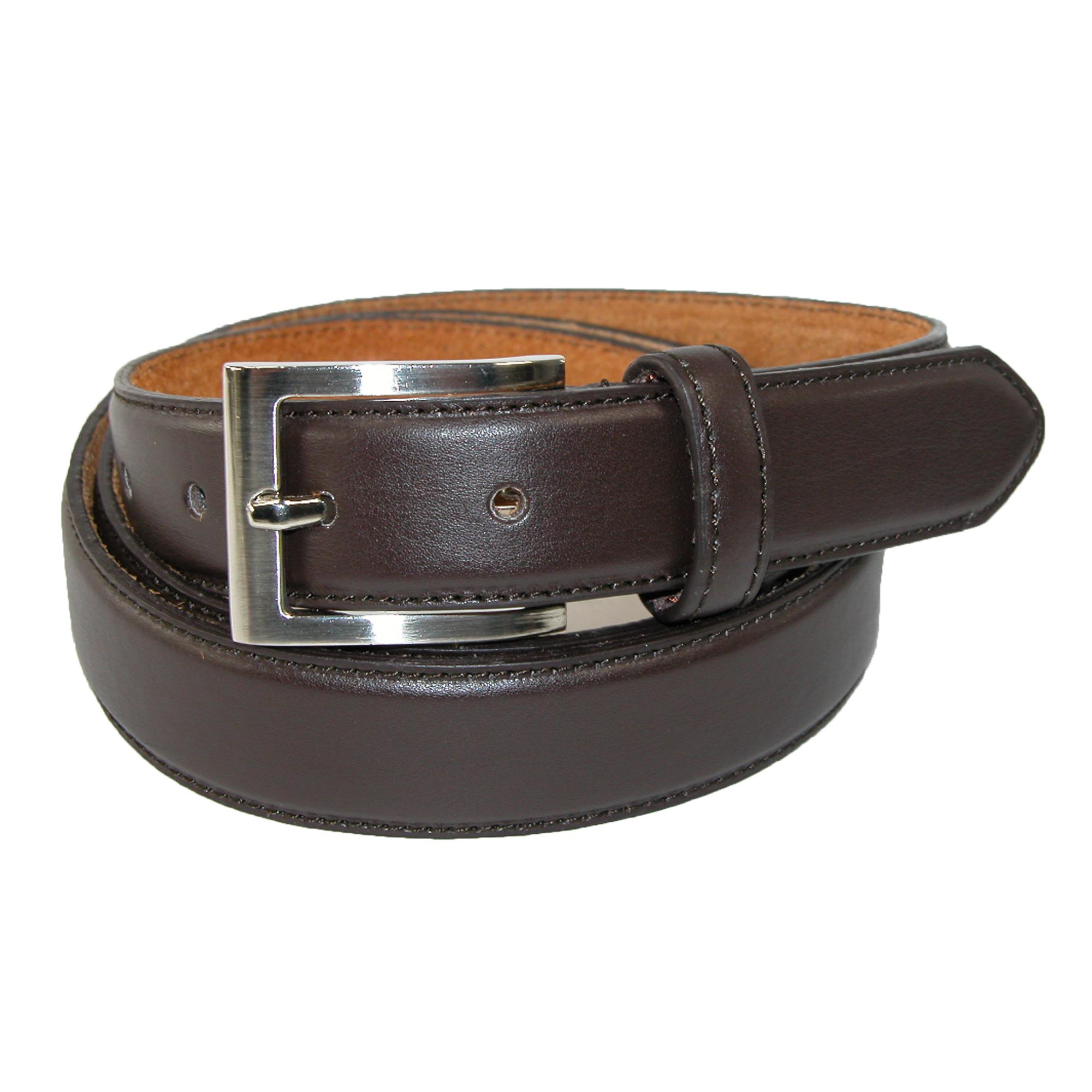 CTM Mens Big & Tall Leather Basic Dress Belt with Silver Buckle