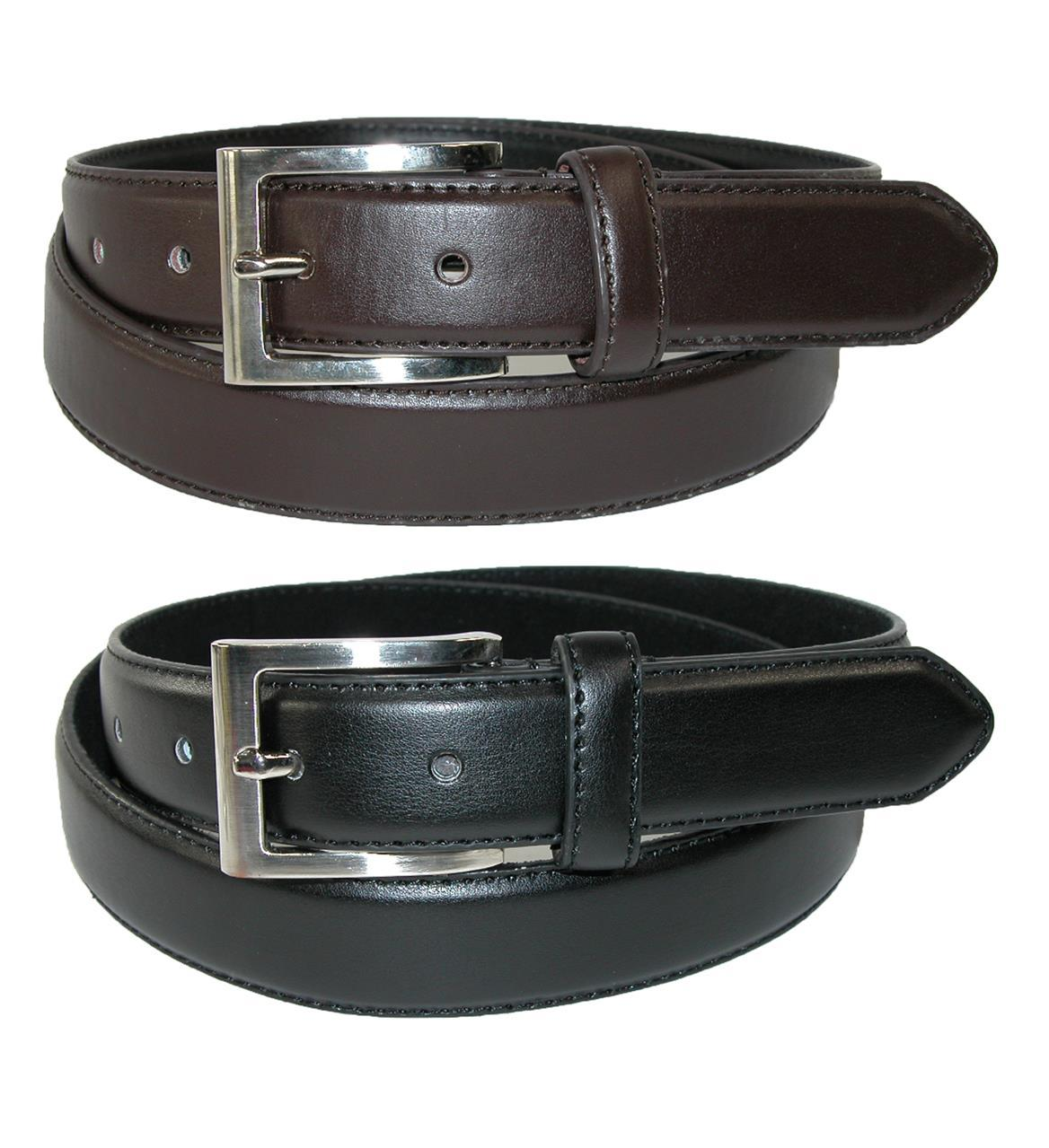 Ctm Mens Big & Tall Leather Dress Belt With Silver Buckle (pack Of 2)
